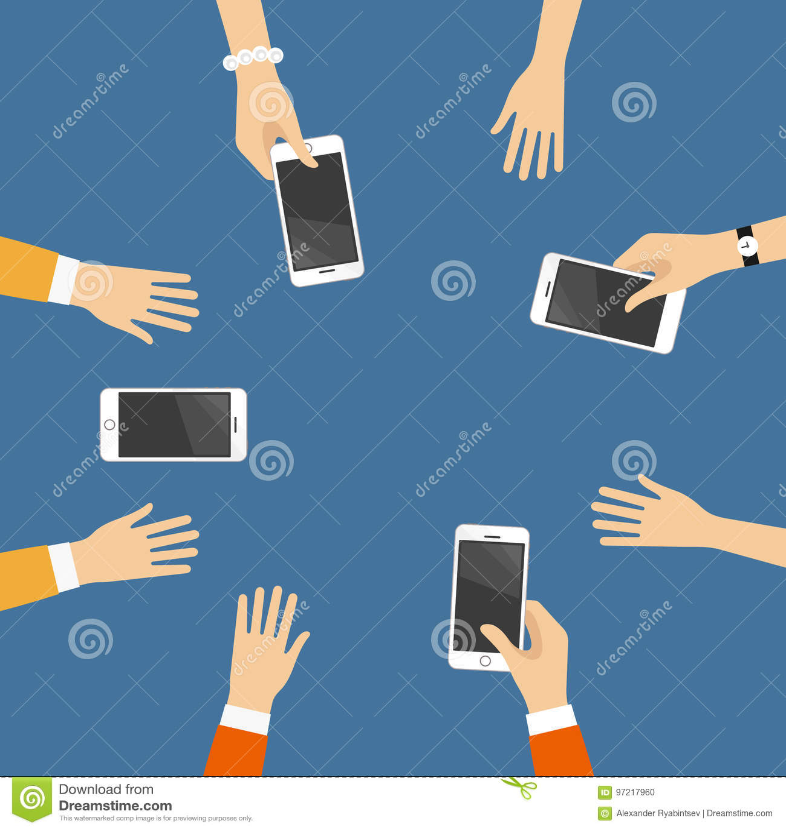 Χέρια με τα έξυπνα τηλέφωνα