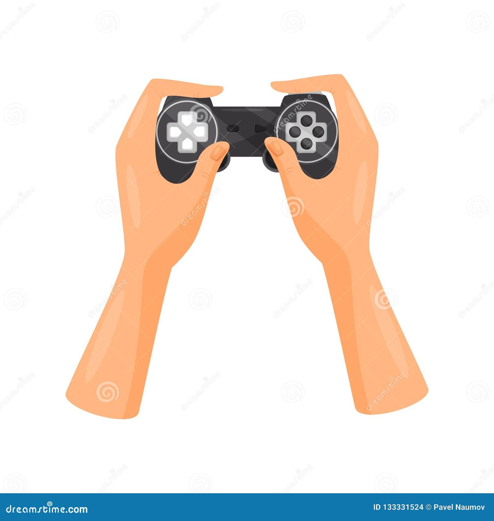 Χέρια που κρατούν τον τηλεοπτικό ελεγκτή παιχνιδιών, διανυσματική απεικόνιση έννοιας τυχερού παιχνιδιού σε ένα άσπρο υπόβαθρο