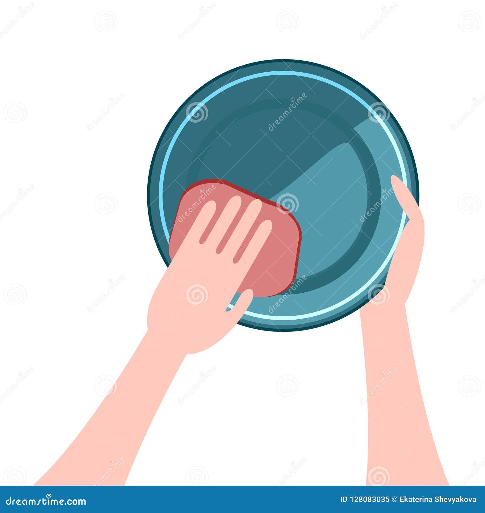 Χέρια που πλένουν τα πιάτα ένα πιάτο