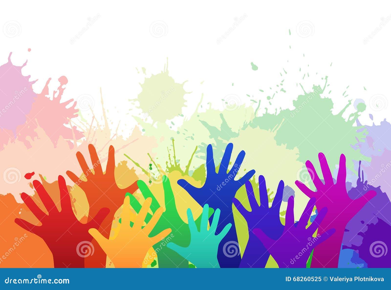 Χέρια των πολύχρωμων παιδιών ουράνιων τόξων