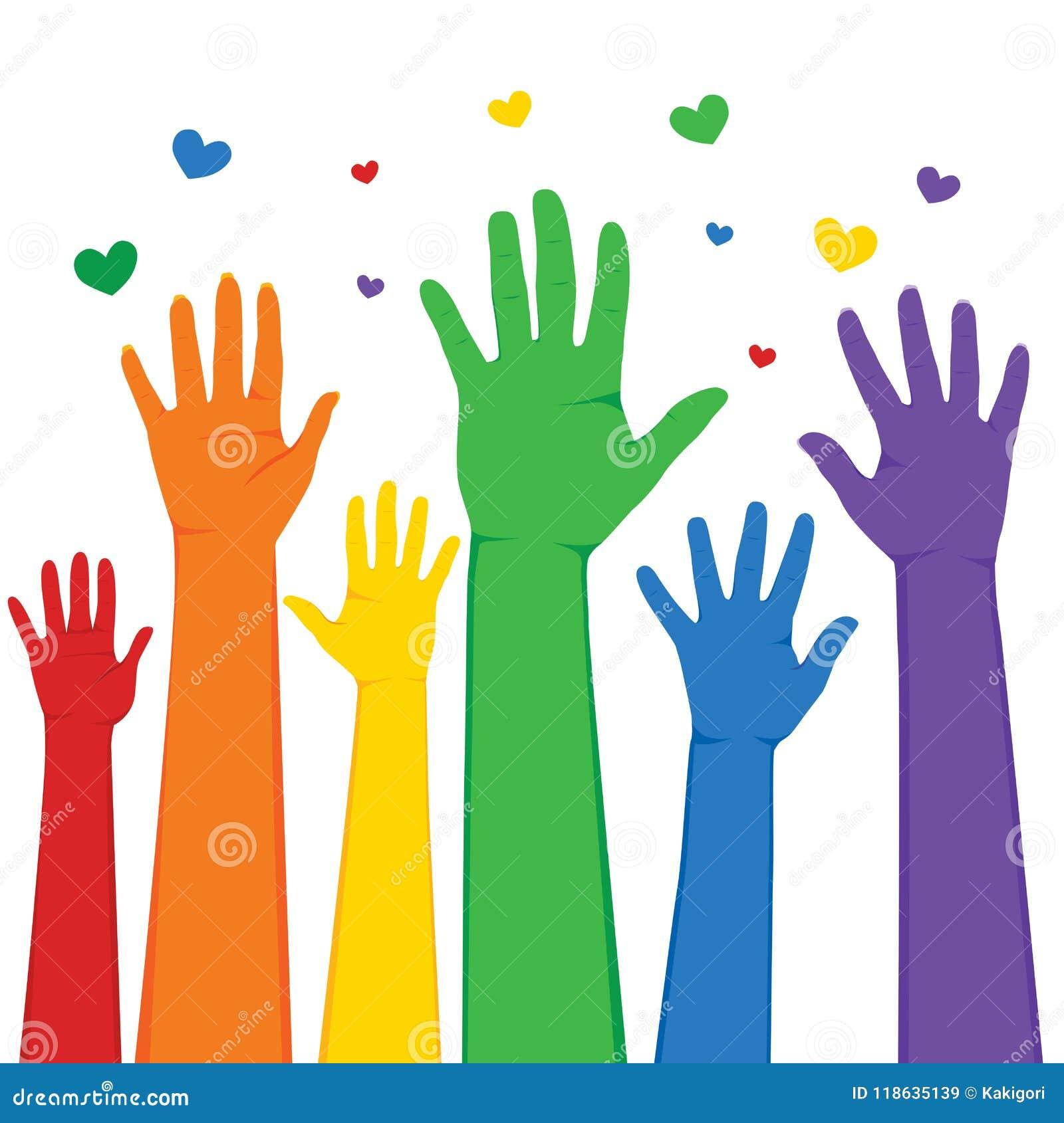 Χέρια LGBT που αυξάνονται