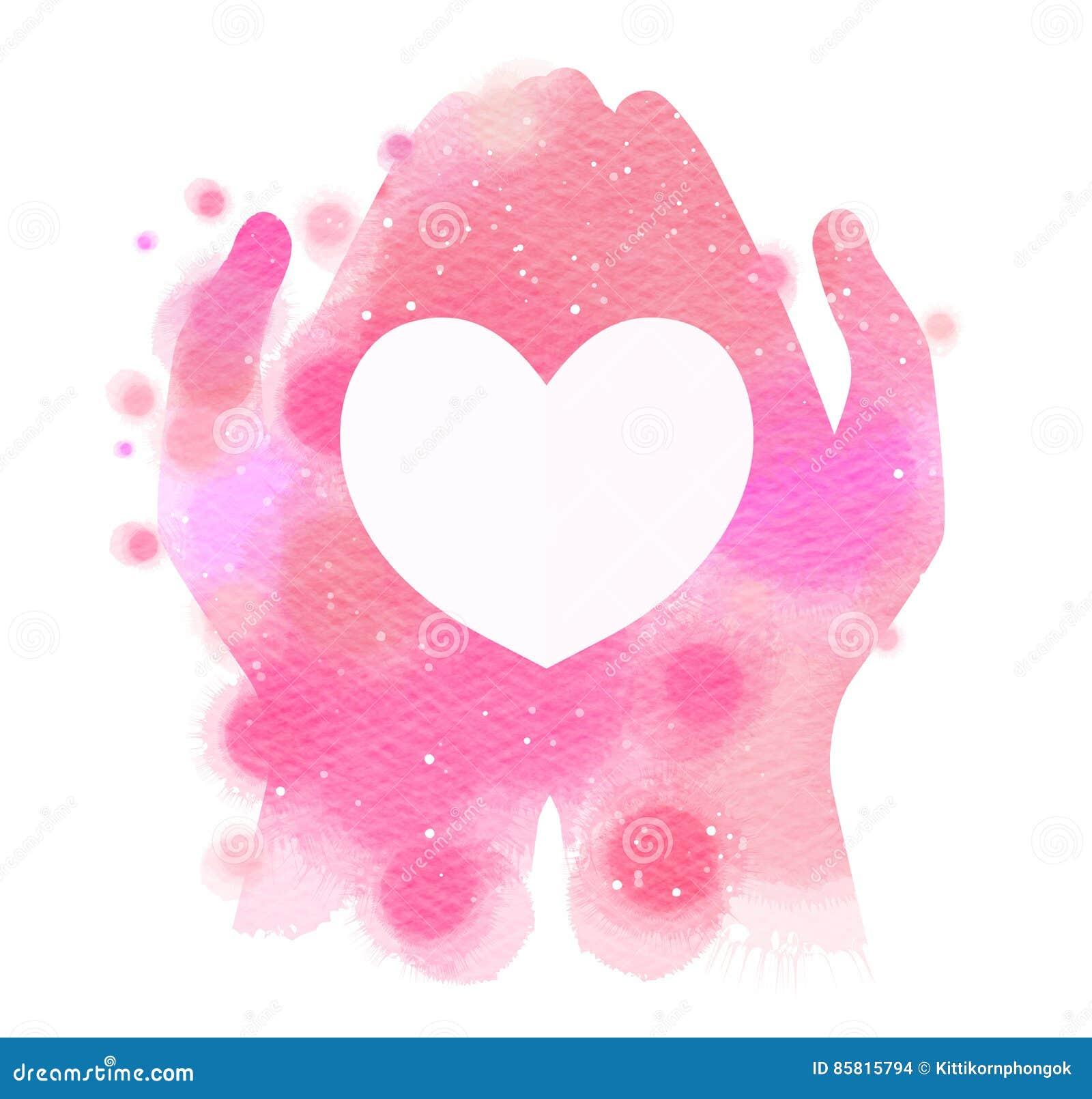 Χέρια Watercolor που δίνουν την άσπρη καρδιά Ψηφιακή ζωγραφική τέχνης