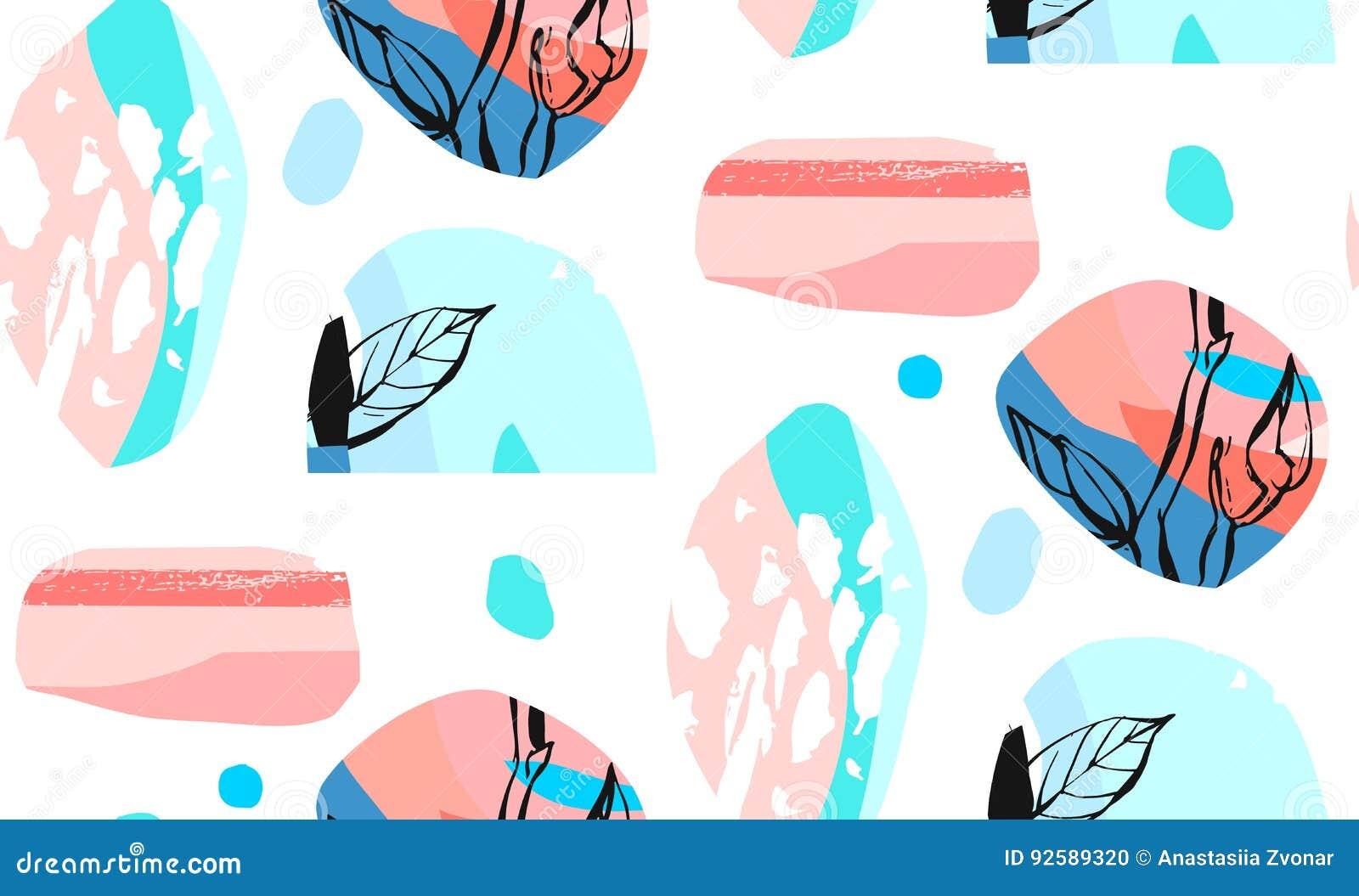 Χέρι - γίνοντα διανυσματικό αφηρημένο κατασκευασμένο καθιερώνον τη μόδα δημιουργικό κολάζ άνευ ραφής σχέδιο το floral μοτίβο που