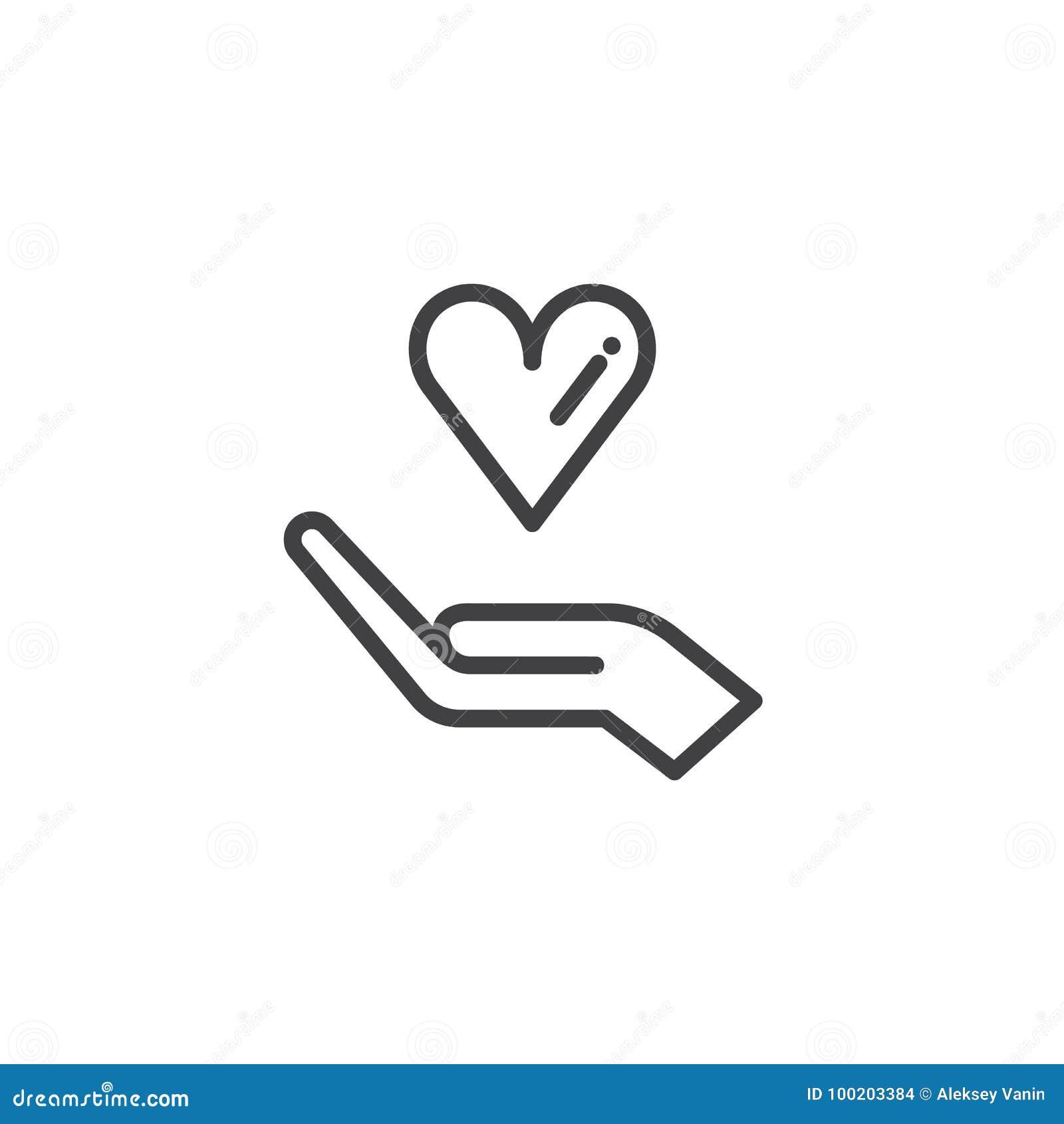 Χέρι δωρεάς με το διάνυσμα εικονιδίων καρδιών