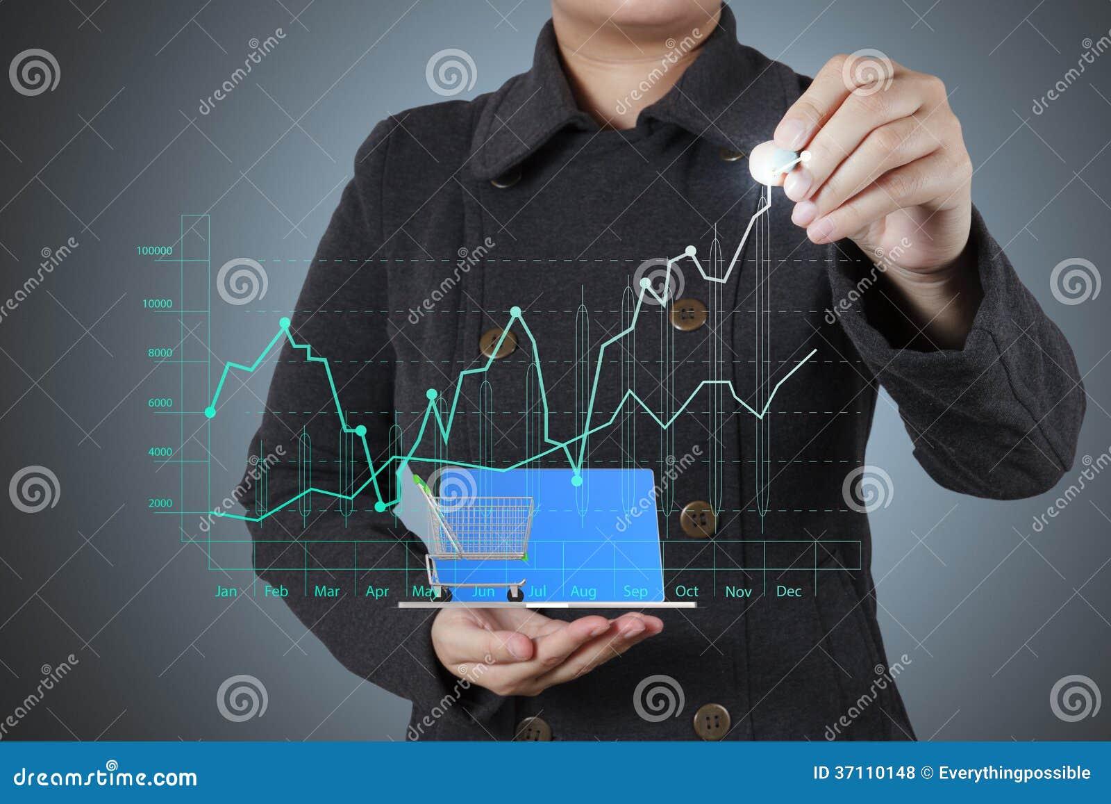 Χέρι επιχειρηματιών που λειτουργεί με το νέους σύγχρονους υπολογιστή και την επιχείρηση