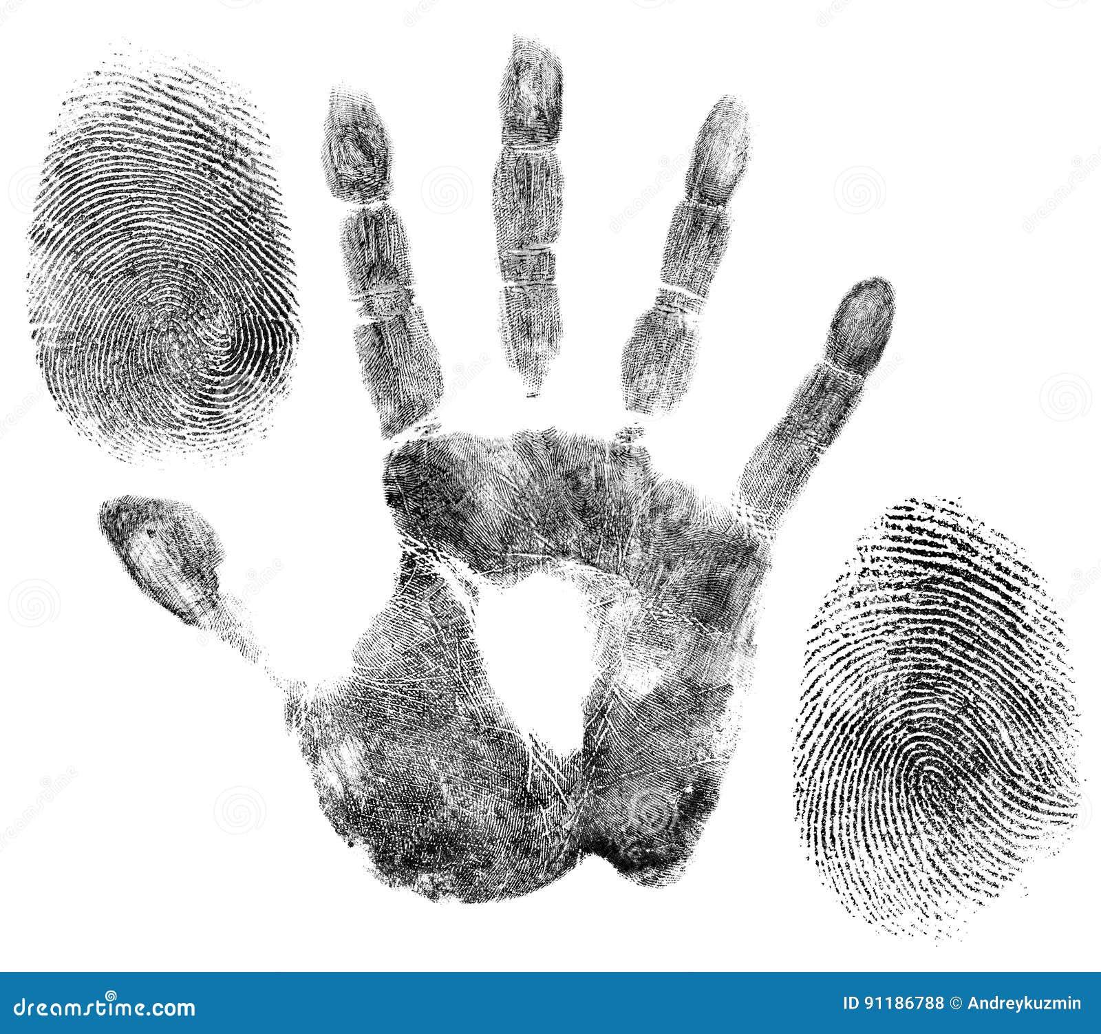 Χέρι και δακτυλικά αποτυπώματα για τον προσδιορισμό