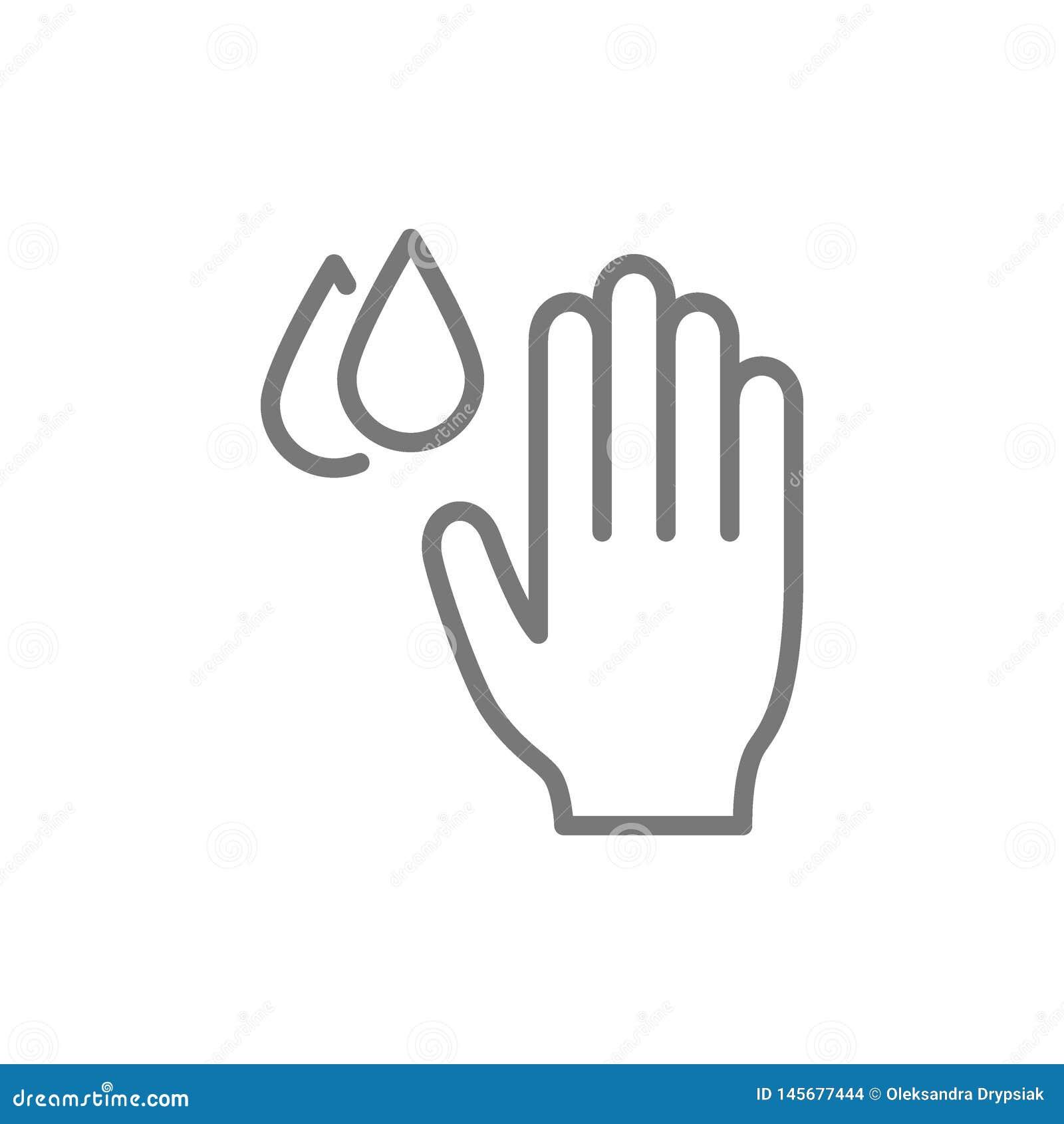 Χέρι με τις πτώσεις νερού, υγιεινή, πλένοντας εικονίδιο γραμμών χεριών