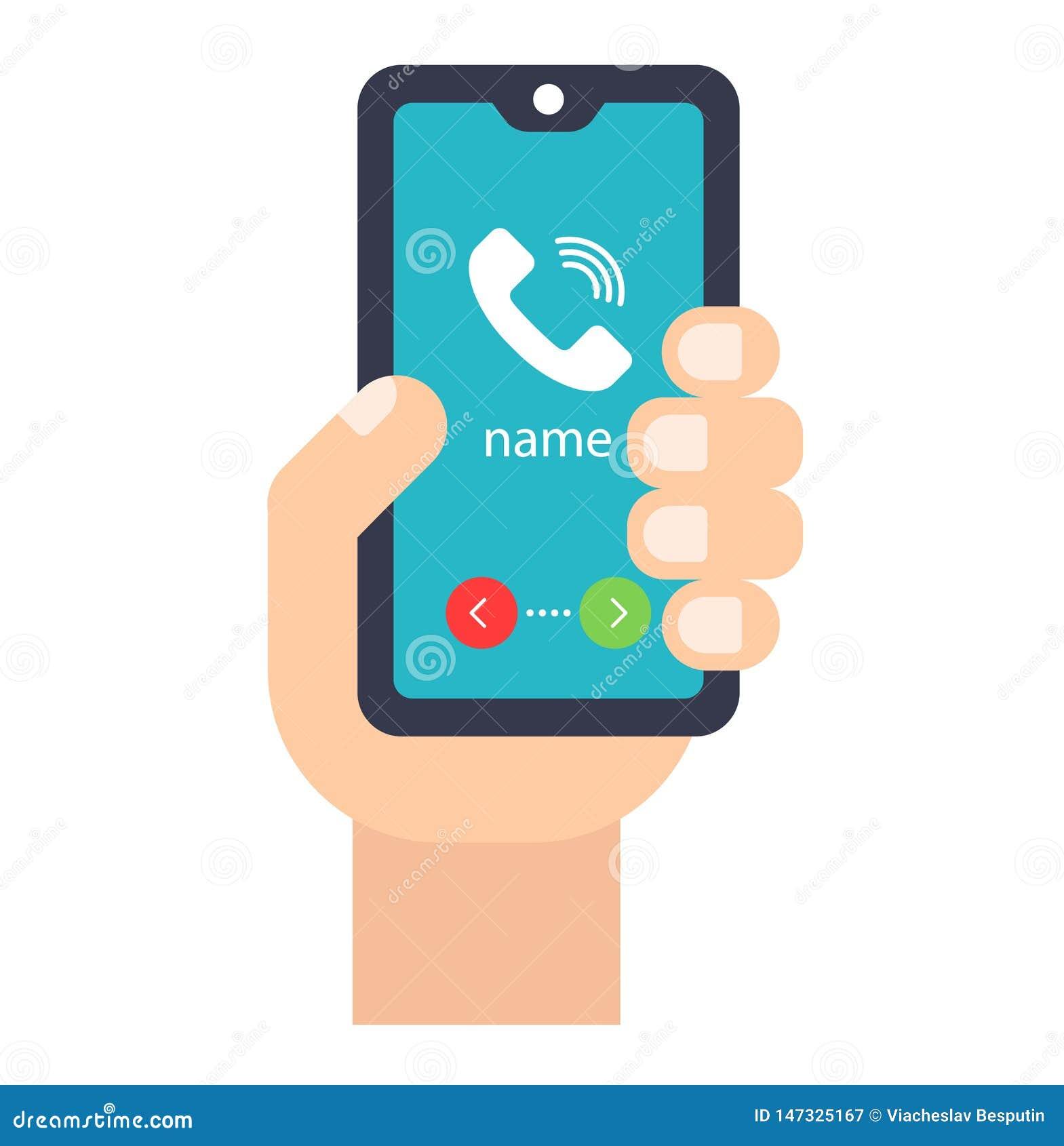 Χέρι με το κινητό τηλέφωνο δεχτείτε ή απορρίψτε