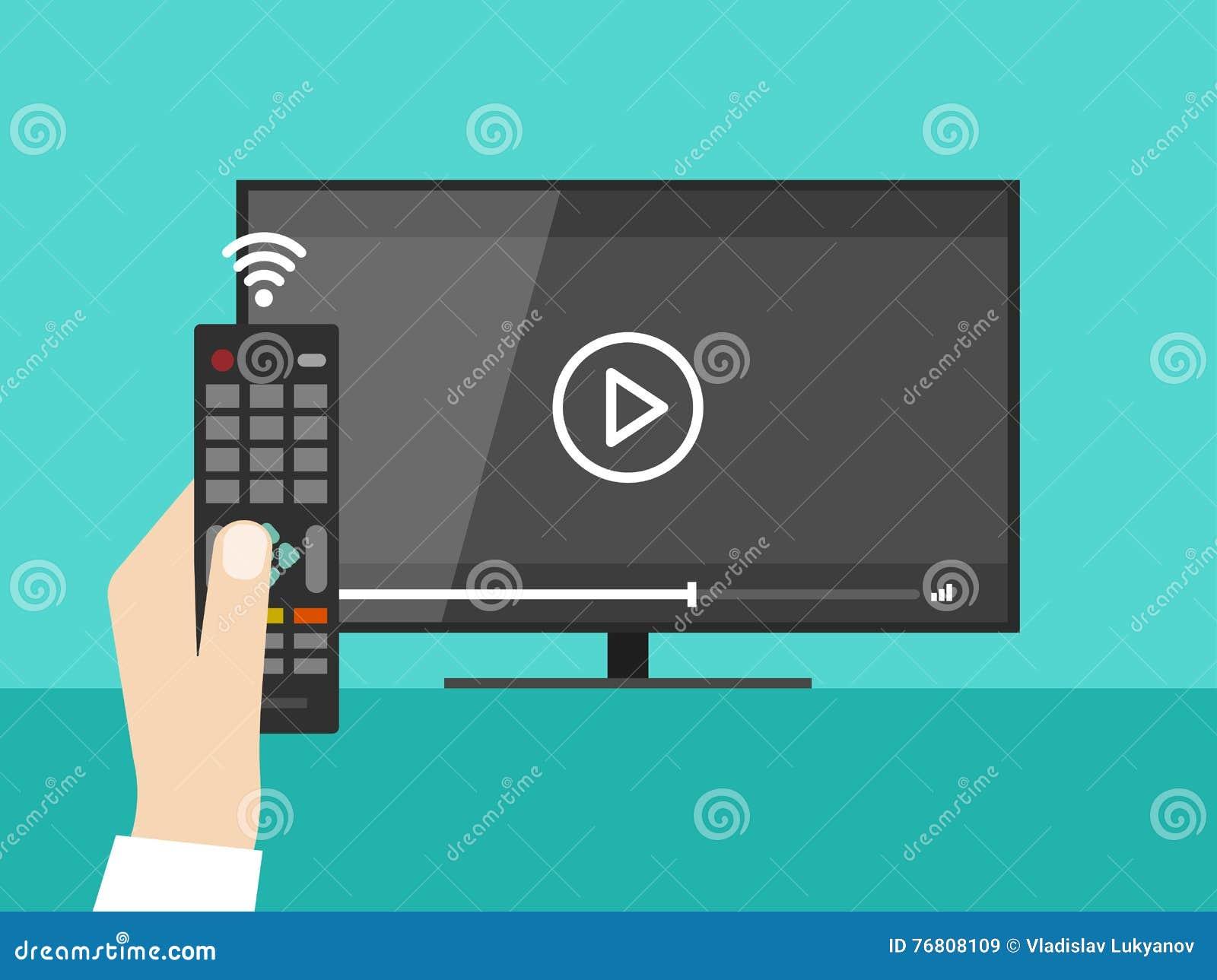 Χέρι που κρατά τον ασύρματο τηλεχειρισμό, TV οθόνης που προσέχει την τηλεοπτική ταινία