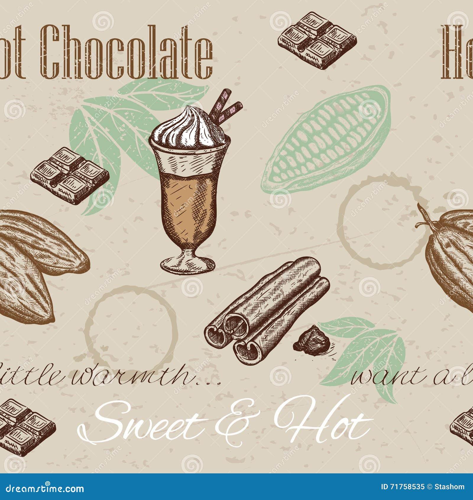 Χέρι που σύρει το άνευ ραφής σχέδιο των φασολιών κακάου, σοκολάτα, φλυτζάνι της καυτής σοκολάτας, κανέλα