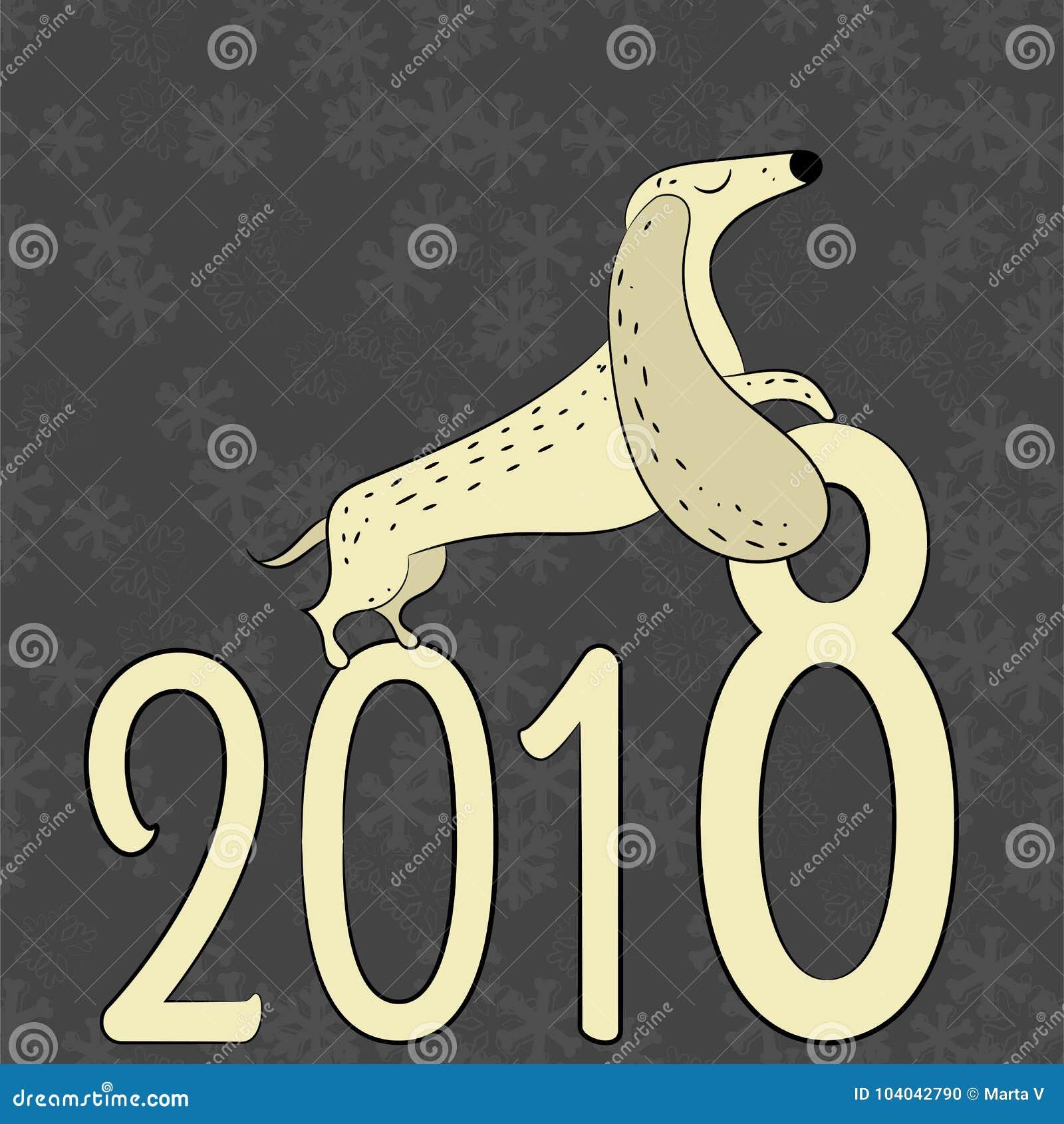 Χέρι που σύρεται διανυσματικό dachshund Το σύμβολο του νέου έτους 2018
