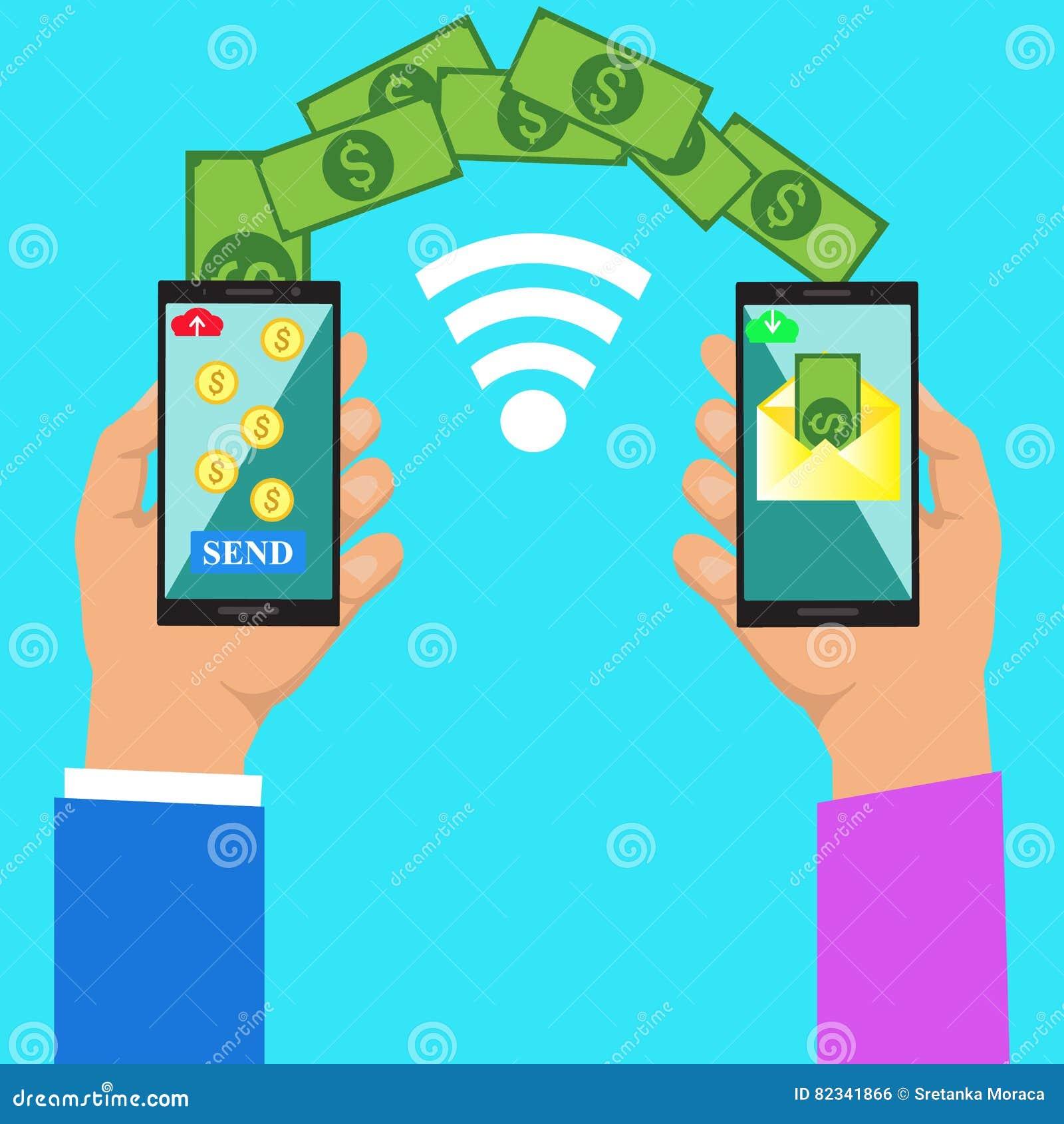 Χέρι που τρυπά το έξυπνο τηλέφωνο με την τραπεζική πληρωμή app απομονωμένο νομίσματα λευκό μεταφοράς στοιβών αποστολής χρημάτων τ