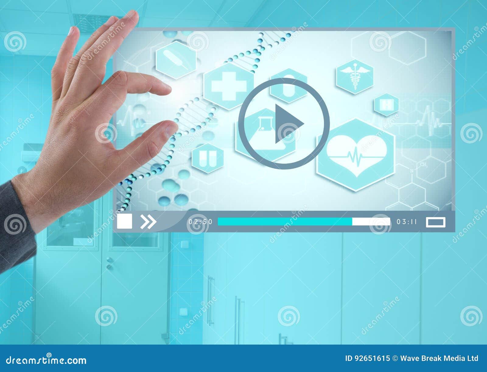 Χέρι σχετικά με την ιατρική App video διεπαφή
