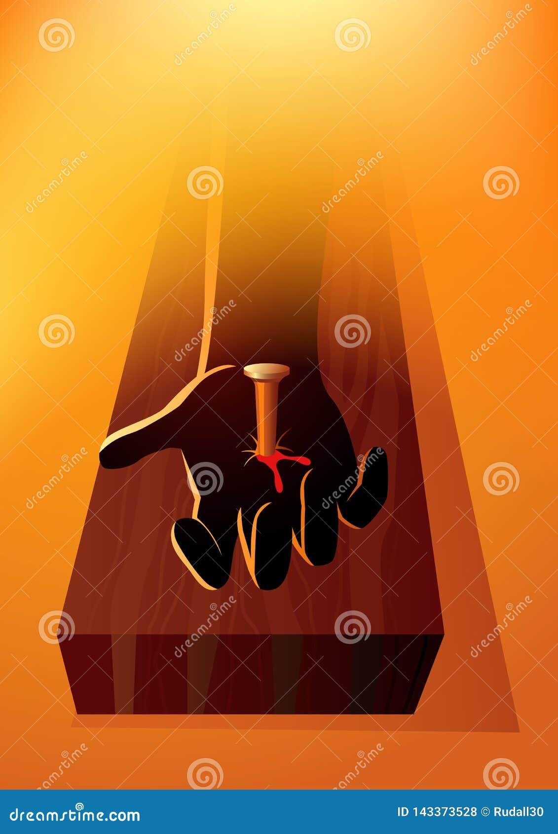 Χέρι του Ιησούς Χριστού που καρφώνεται στο σταυρό