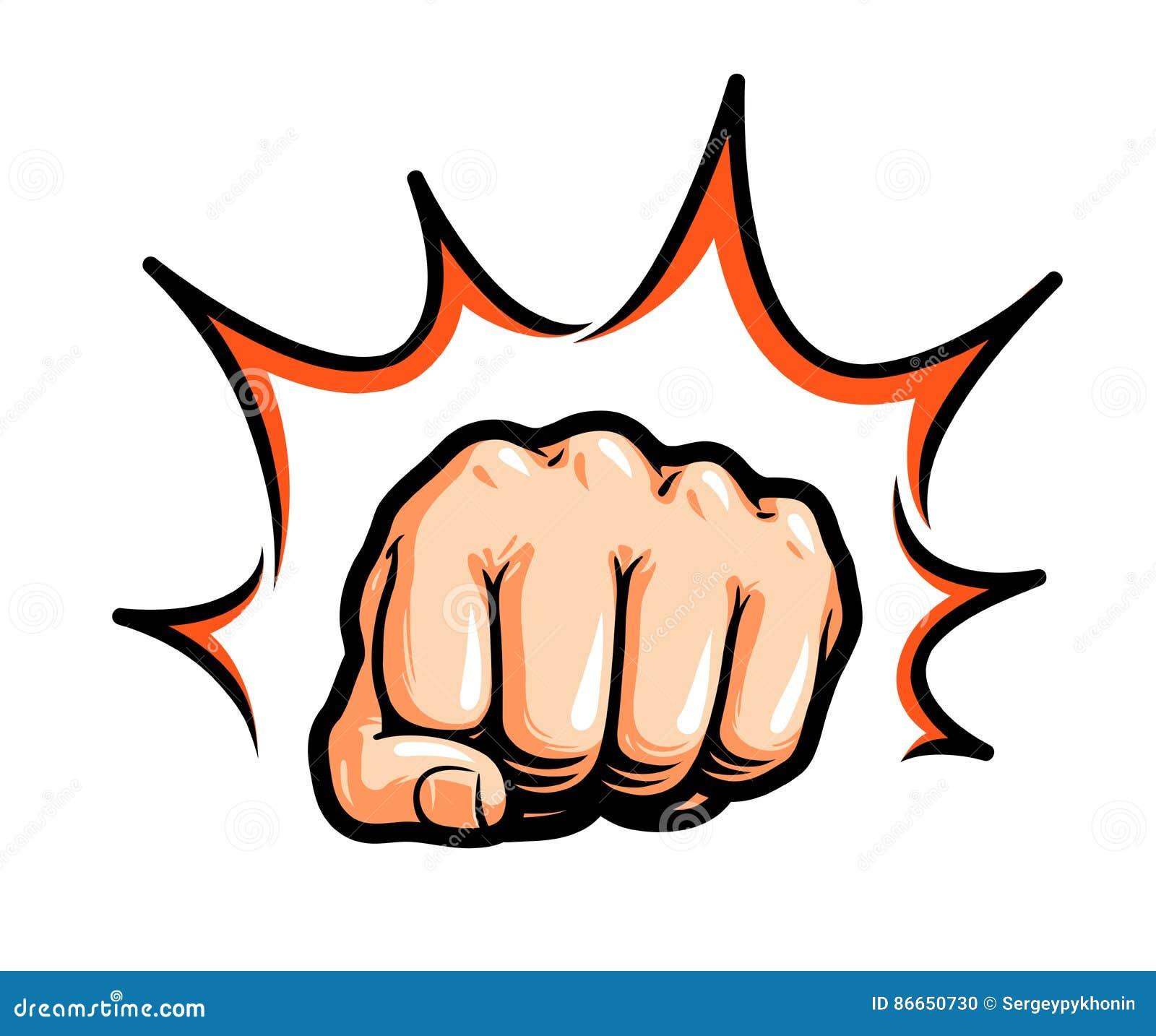 Χέρι, punching πυγμών ή χτύπημα Κωμική λαϊκή τέχνη, σύμβολο επίσης corel σύρετε το διάνυσμα απεικόνισης