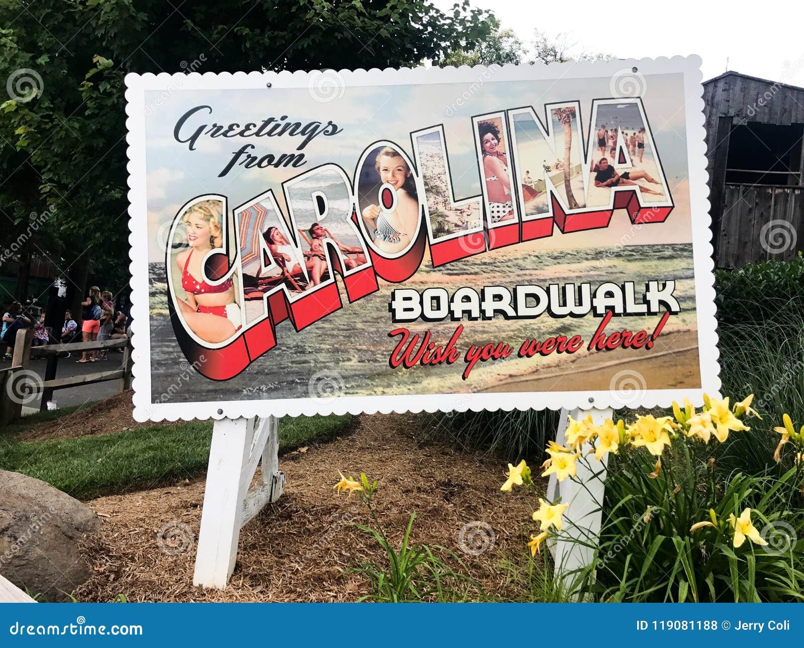 Χαιρετισμοί από το σημάδι καρτών θαλασσίων περίπατων της Καρολίνας