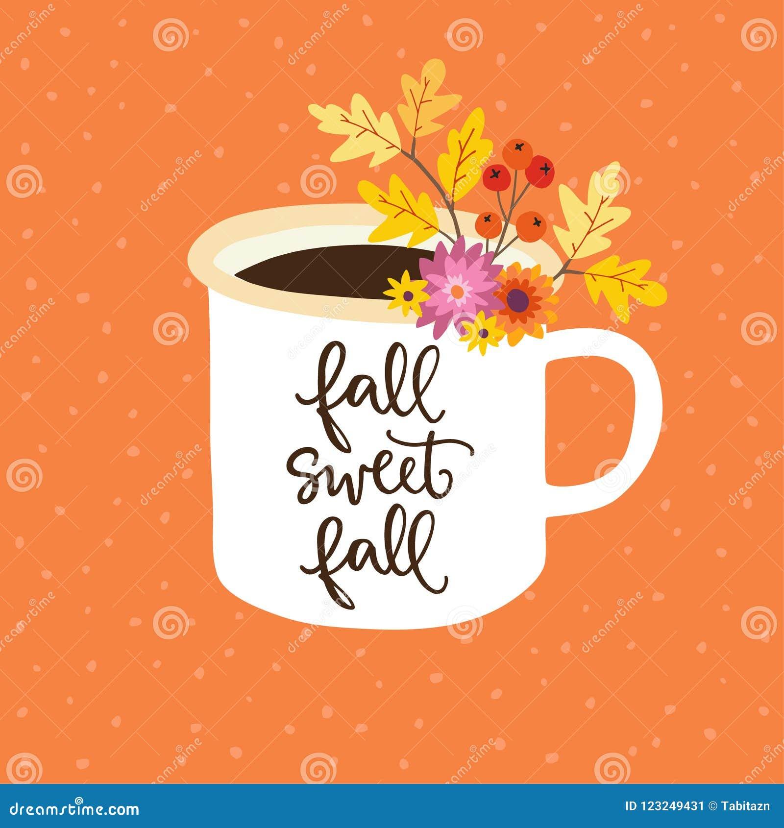 Χαιρετισμός φθινοπώρου, κάρτα, πρόσκληση Χειρόγραφο κείμενο πτώσης πτώσης γλυκό Συρμένη χέρι κούπα Φλυτζάνι του τσαγιού ή του καφ