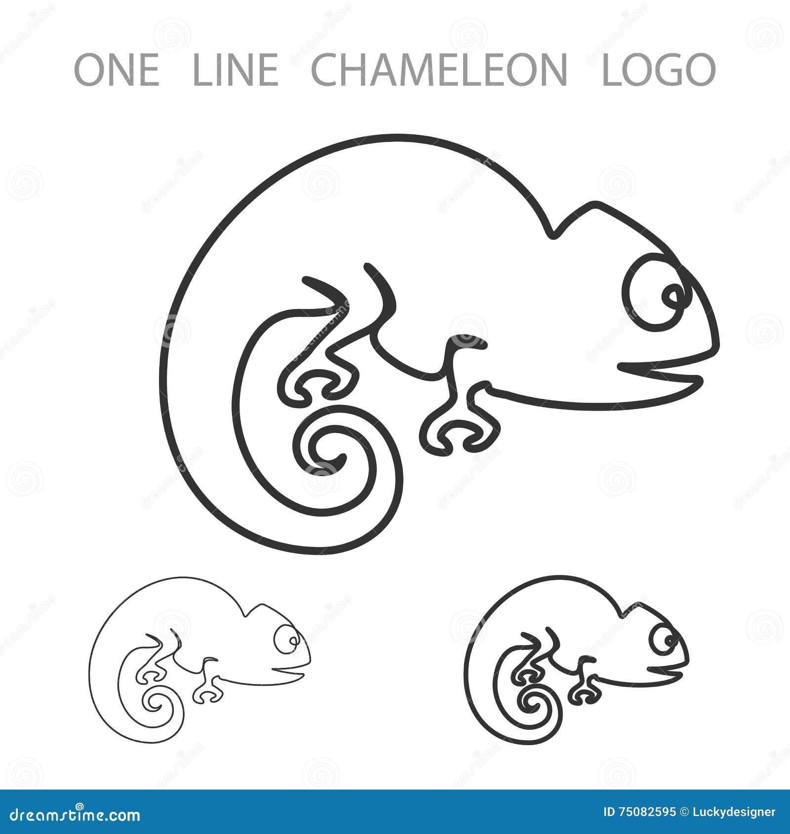 χαμαιλέοντας Ένα λογότυπο γραμμών Ύφος Logotype μινιμαλισμού διάνυσμα