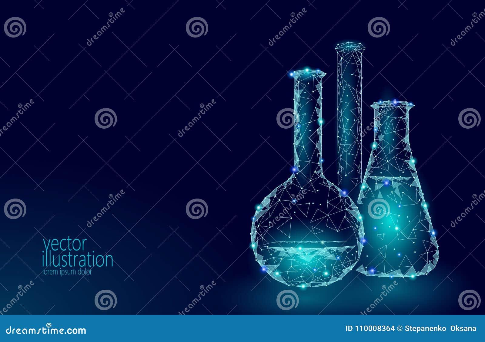 Χαμηλές πολυ φιάλες γυαλιού επιστήμης χημικές Μαγική εξοπλισμού polygonal ερευνητική μελλοντική τεχνολογία πυράκτωσης τριγώνων μπ