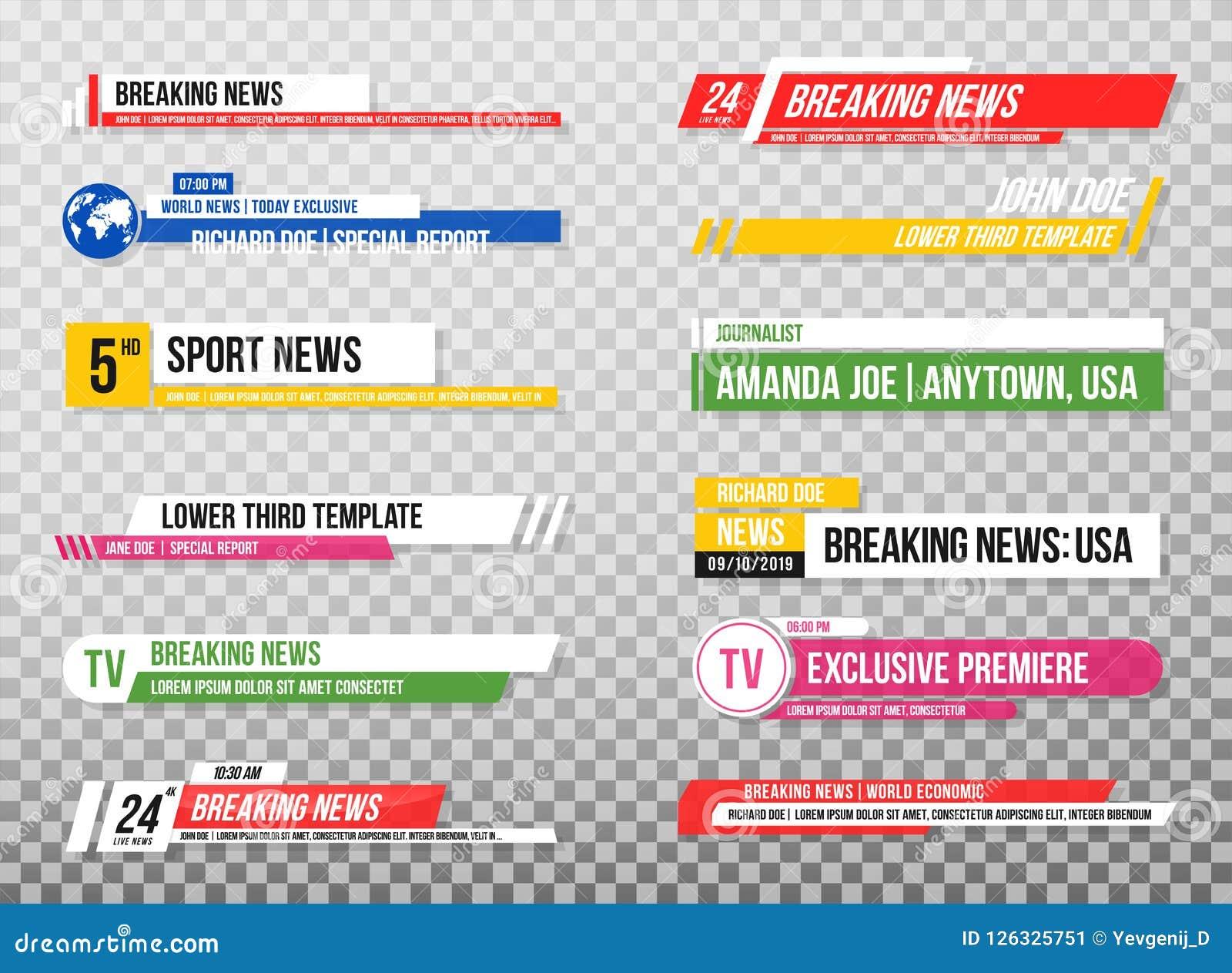 Χαμηλότερο τρίτο πρότυπο Σύνολο εμβλημάτων και φραγμών TV για τις ειδήσεις και τα αθλητικά κανάλια, τη ροή και τη ραδιοφωνική ανα