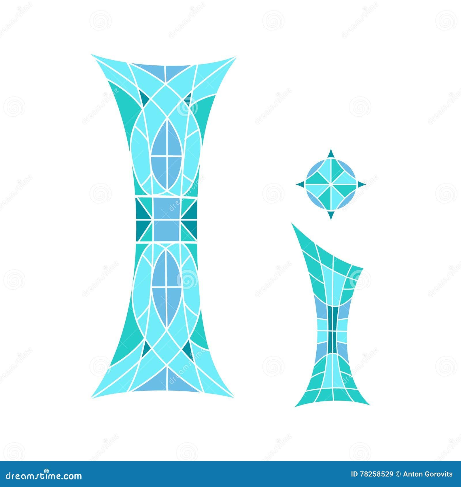 Χαμηλή πολυ επιστολή Ι στο μπλε πολύγωνο μωσαϊκών
