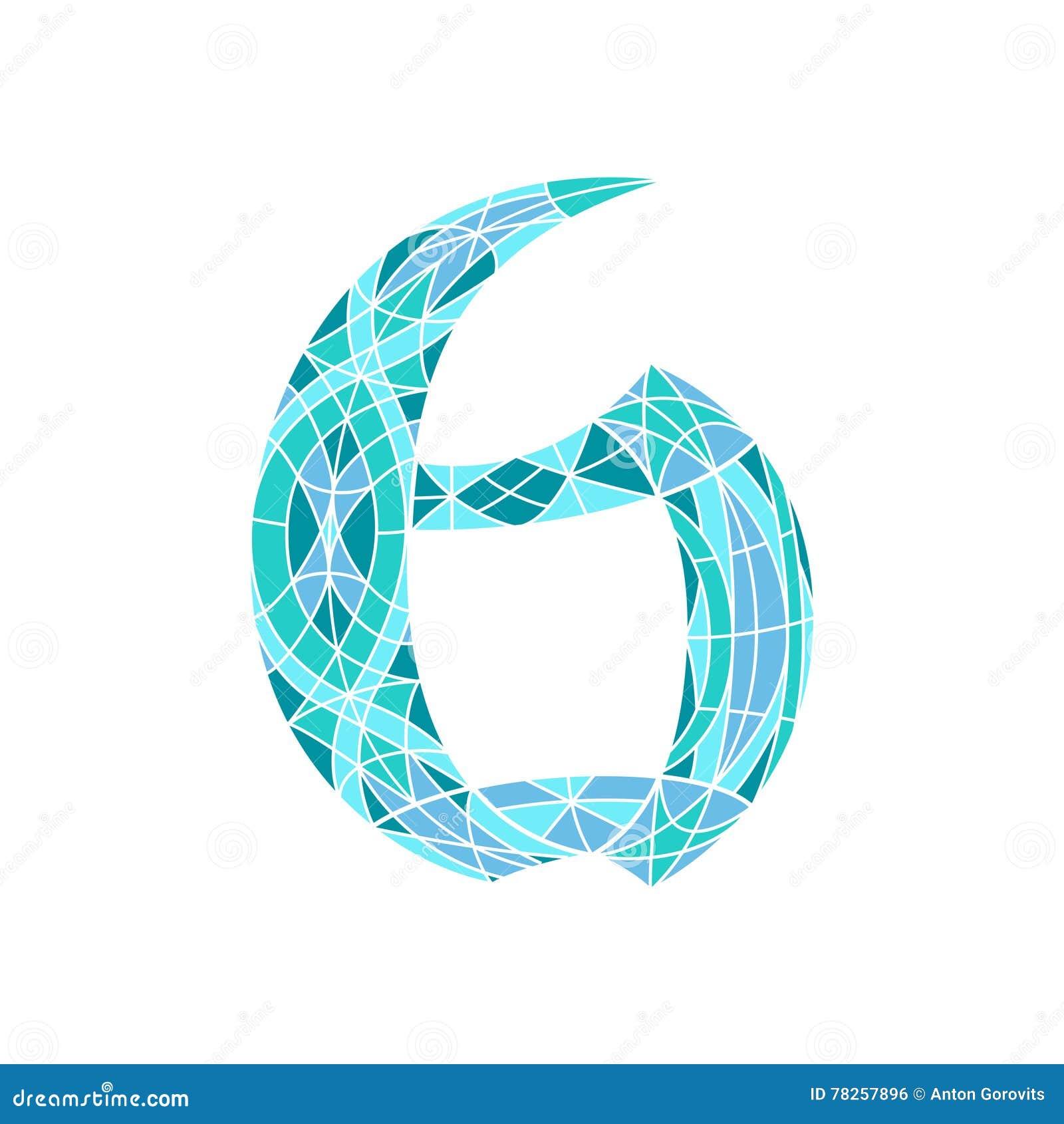 Χαμηλός πολυ αριθμός 6 στο μπλε πολύγωνο μωσαϊκών