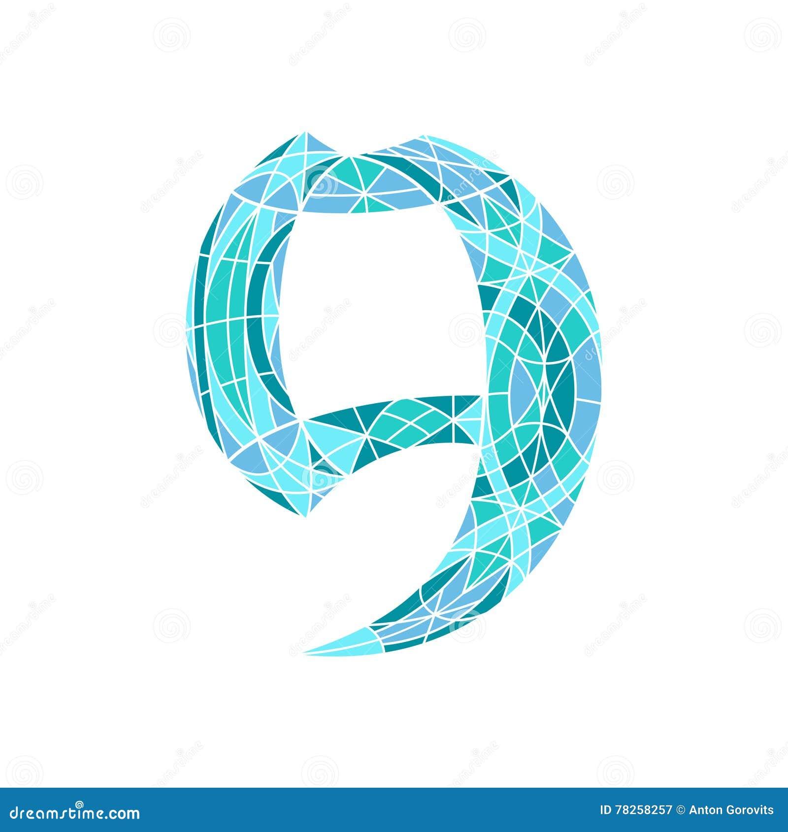 Χαμηλός πολυ αριθμός 9 στο μπλε πολύγωνο μωσαϊκών