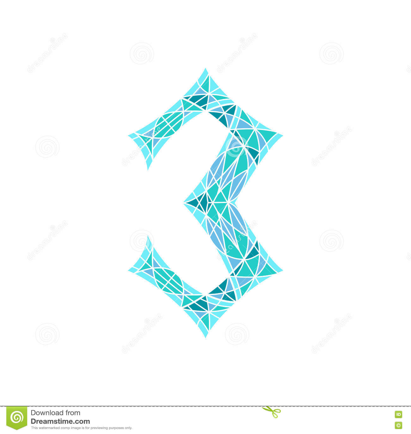 Χαμηλός πολυ αριθμός 3 στο μπλε πολύγωνο μωσαϊκών