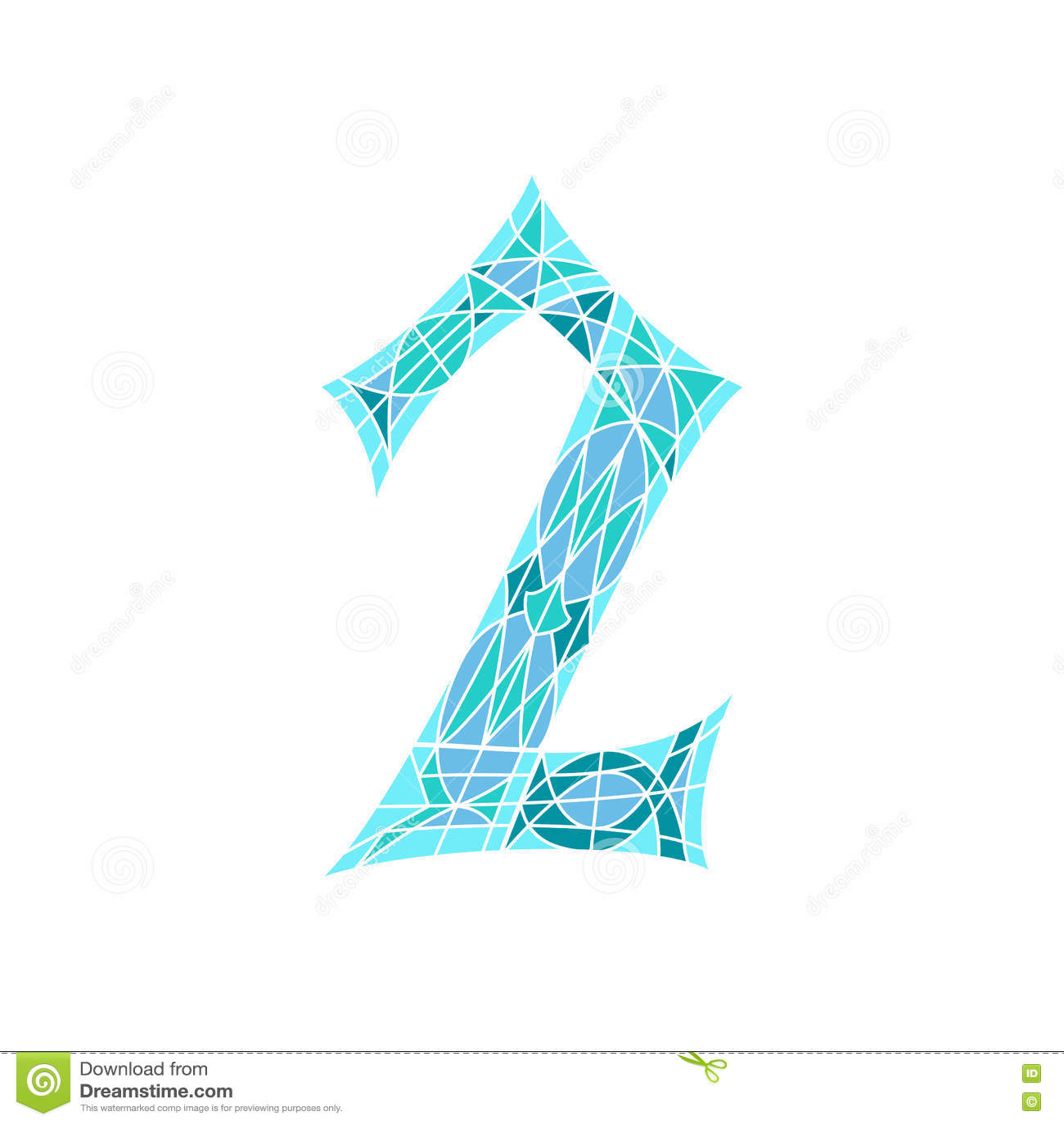 Χαμηλός πολυ αριθμός 2 στο μπλε πολύγωνο μωσαϊκών
