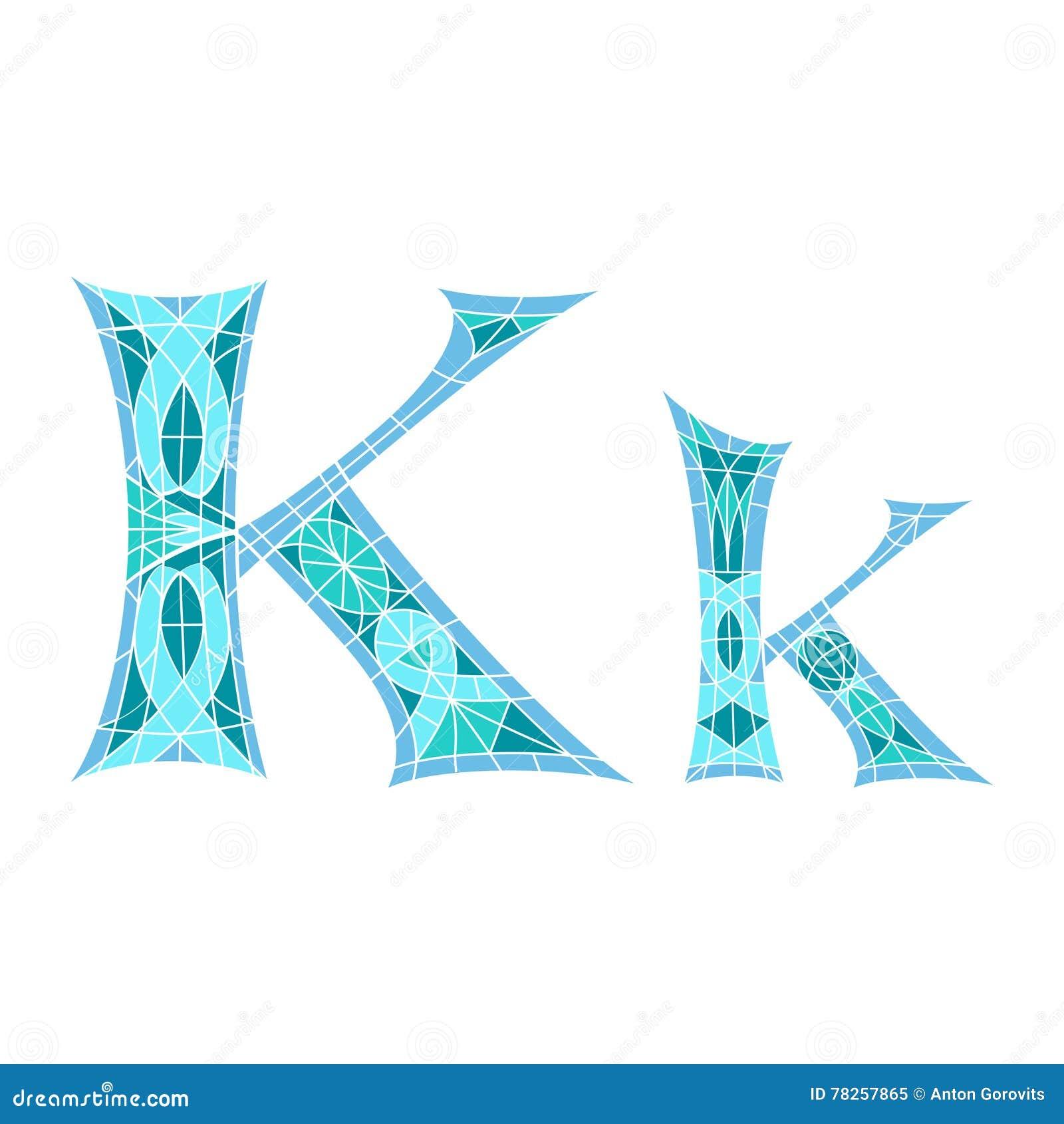 Χαμηλό πολυ γράμμα Κ στο μπλε πολύγωνο μωσαϊκών