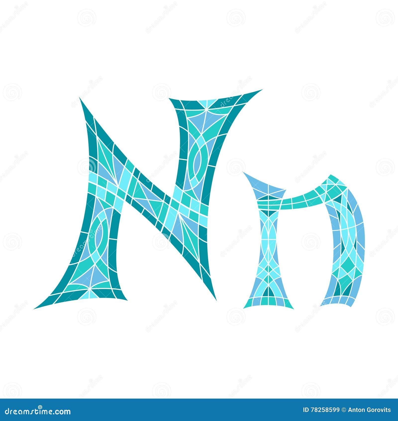 Χαμηλό πολυ γράμμα Ν στο μπλε πολύγωνο μωσαϊκών