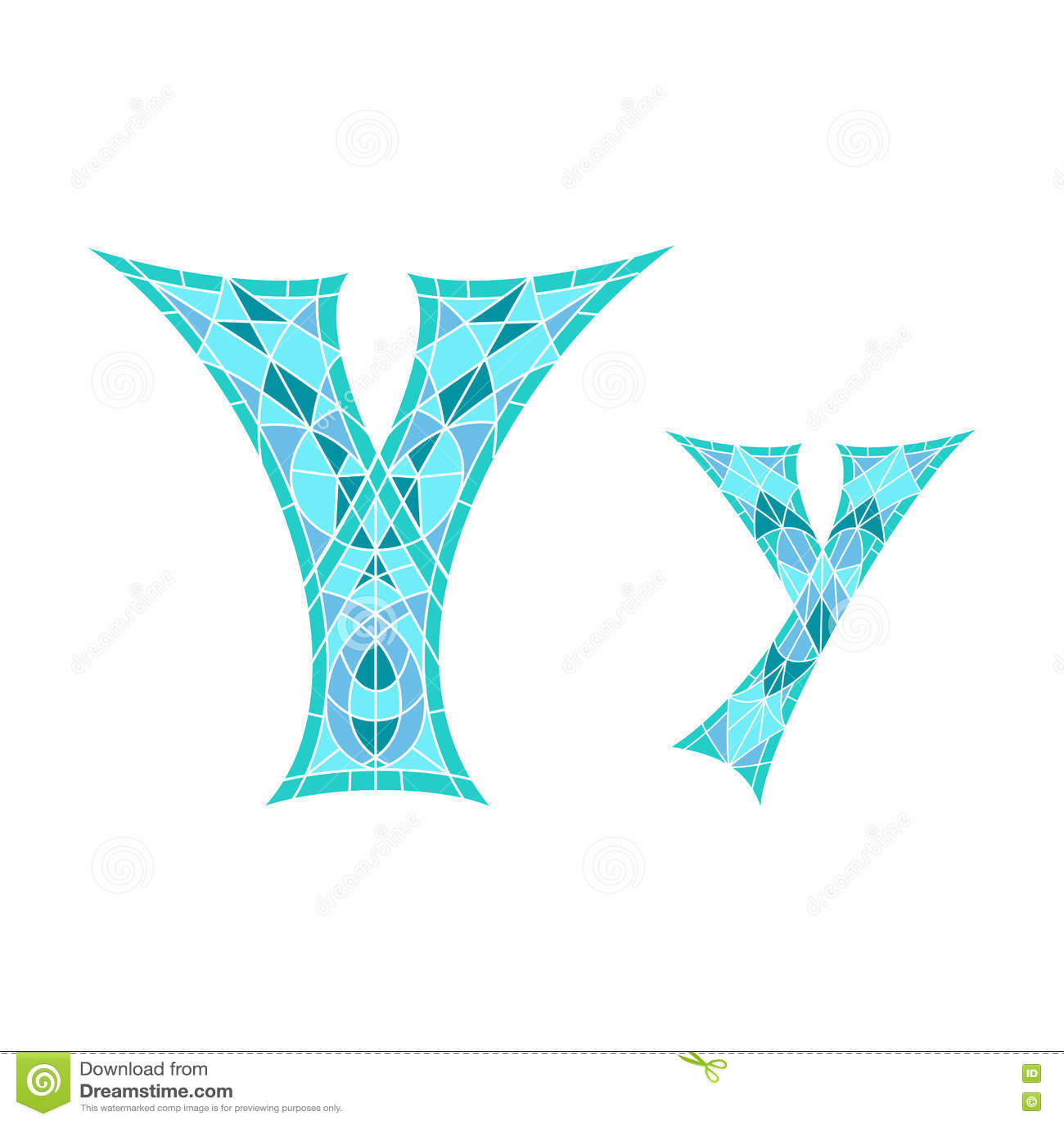 Χαμηλό πολυ γράμμα Υ στο μπλε πολύγωνο μωσαϊκών