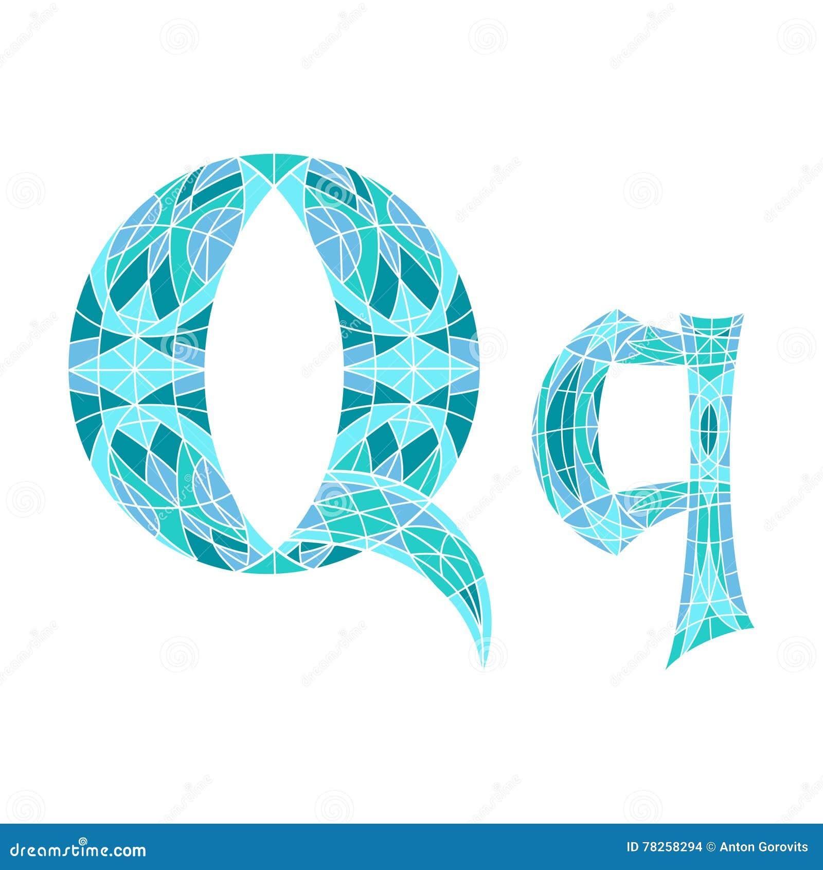 Χαμηλό πολυ γράμμα Q στο μπλε πολύγωνο μωσαϊκών