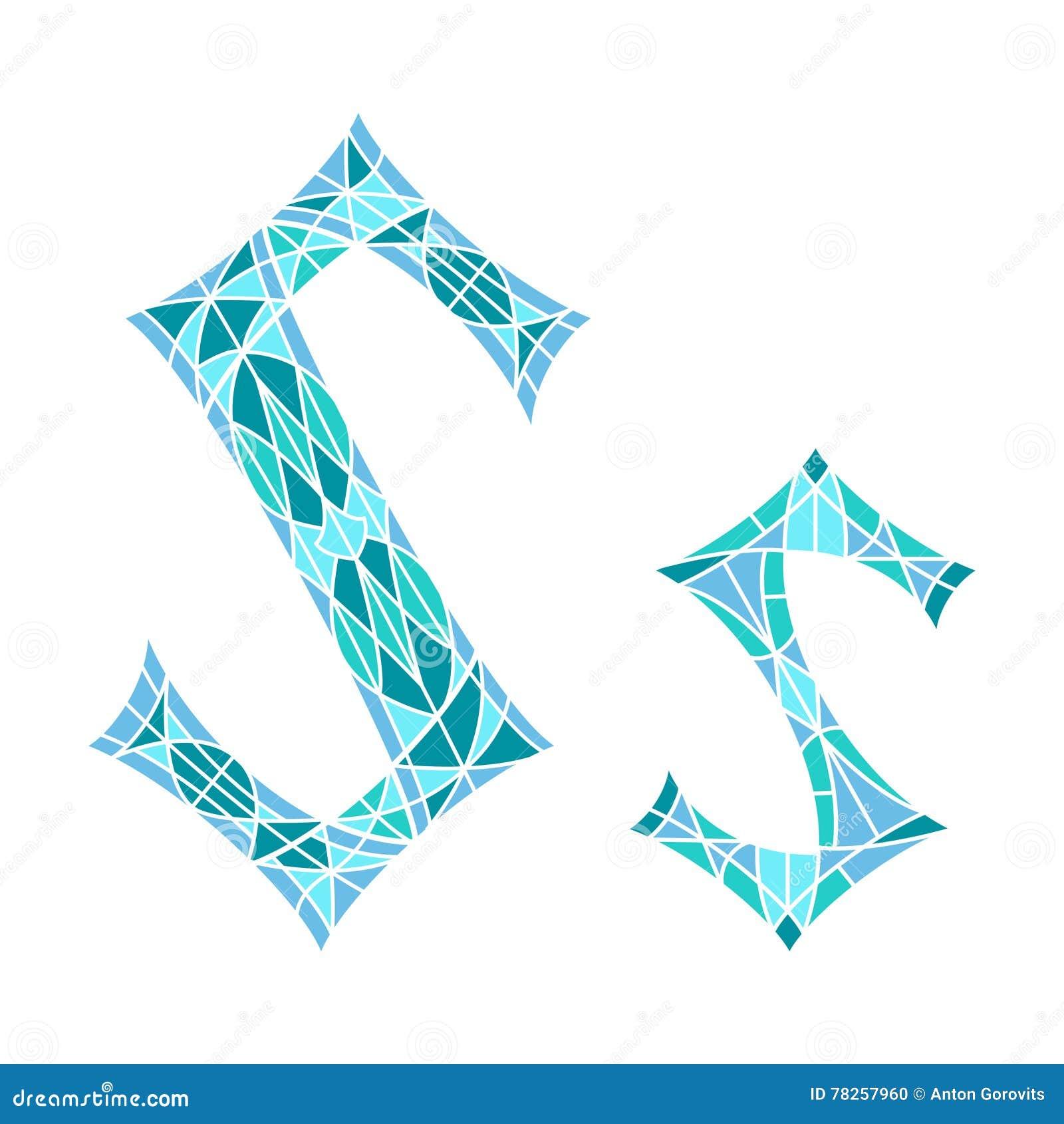 Χαμηλό πολυ γράμμα S στο μπλε πολύγωνο μωσαϊκών