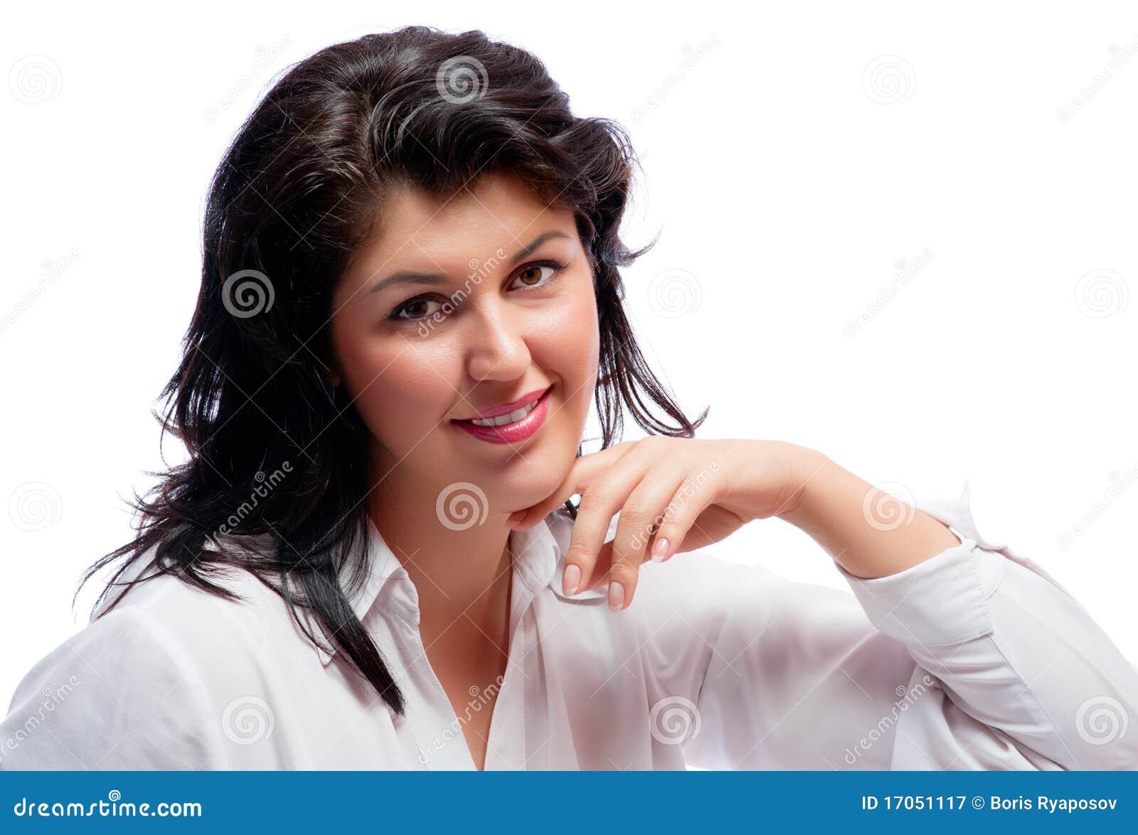 Χαμογελώντας γυναίκα που απομονώνεται νέα