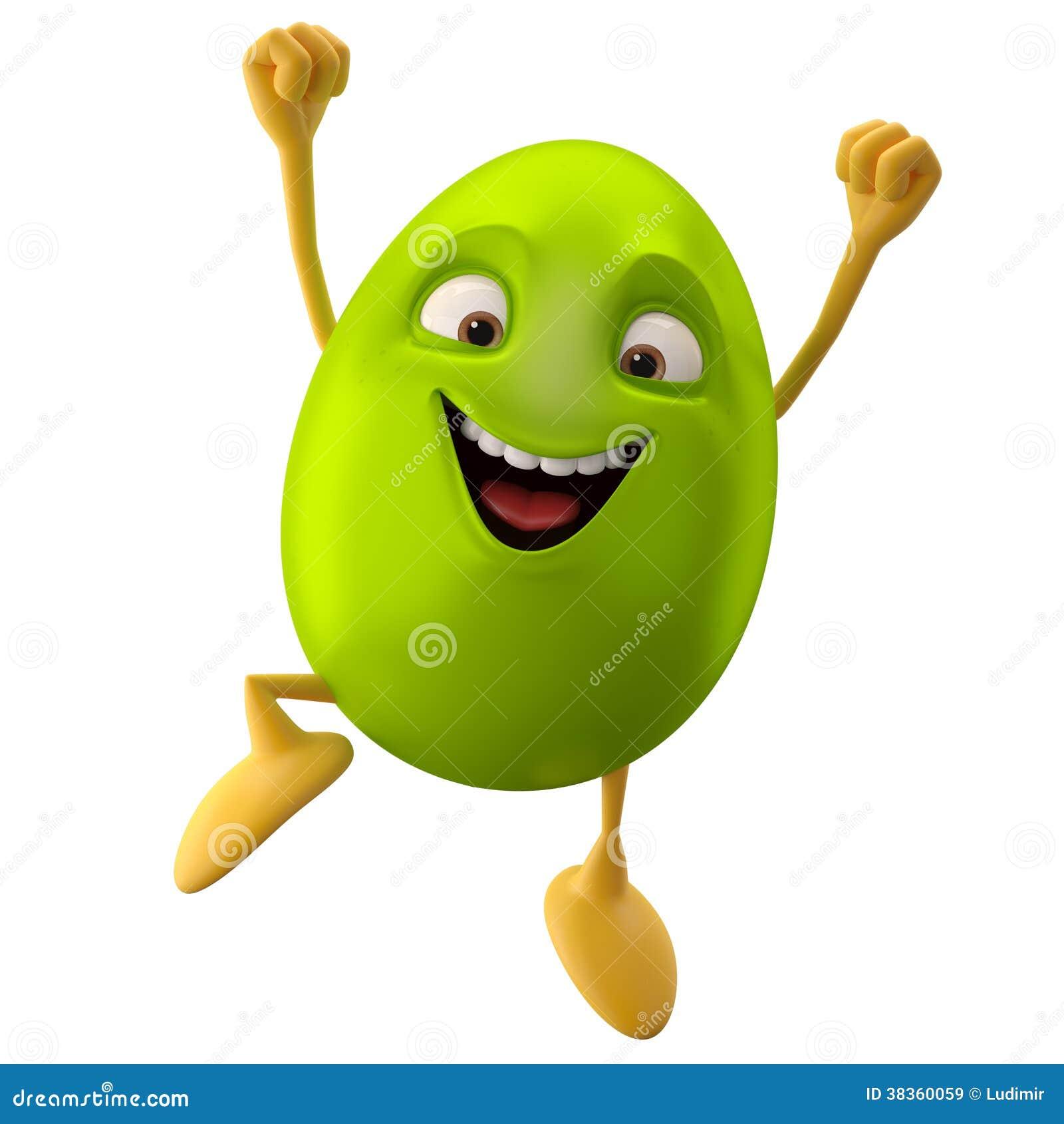 Χαμογελώντας αυγό Πάσχας, αστείος τρισδιάστατος χαρακτήρας κινουμένων σχεδίων
