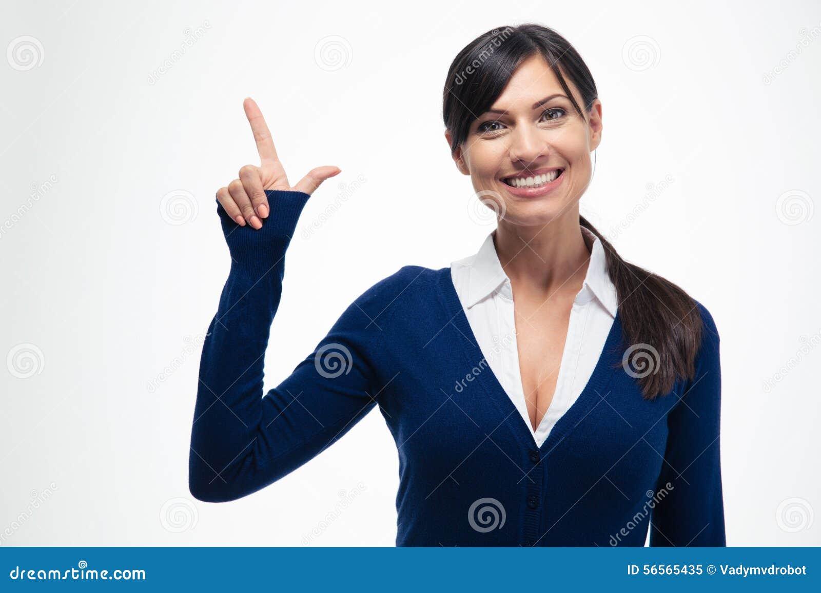 Download Χαμογελώντας επιχειρηματίας που δείχνει το δάχτυλο επάνω Στοκ Εικόνα - εικόνα από άνθρωποι, αναγγέλλει: 56565435