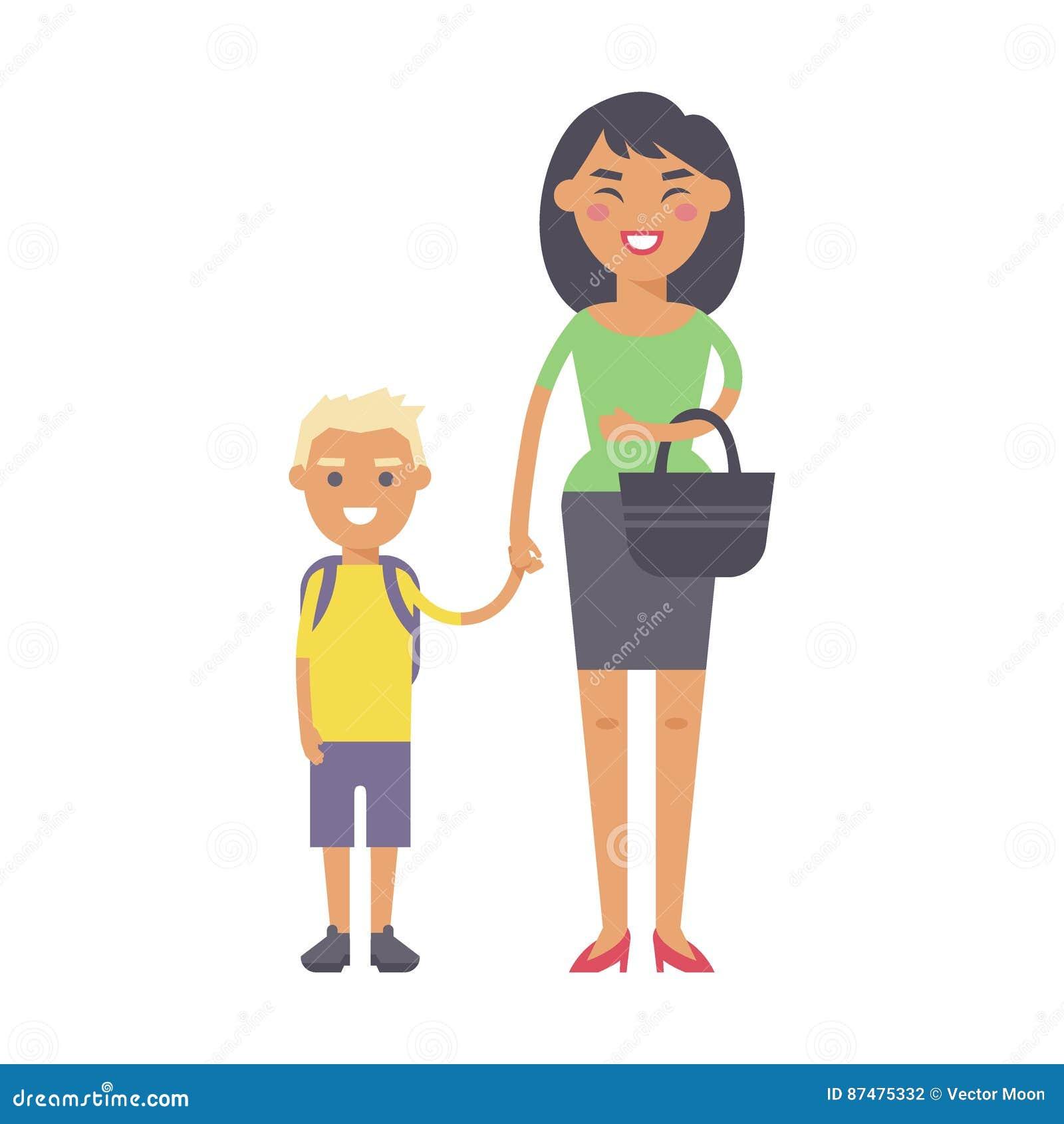 Χαμογελώντας μητέρα ευτυχίας οικογενειακών ανθρώπων ενήλικη με τη parenting έννοια ενότητας γιων και περιστασιακός γονέας, εύθυμο