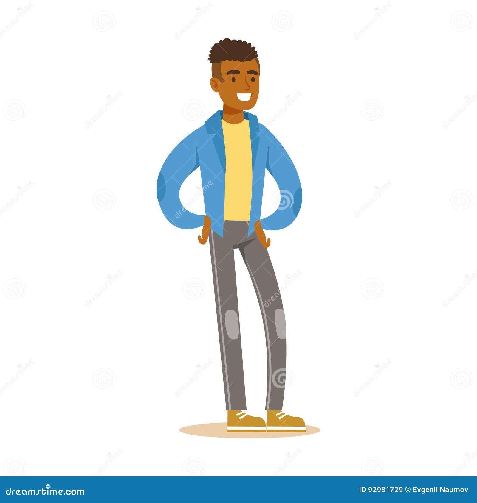 Χαμογελώντας περιστασιακό νέο αφρικανικό άτομο στη στάση μπλε ζακετών Ζωηρόχρωμη διανυσματική απεικόνιση χαρακτήρα κινουμένων σχε