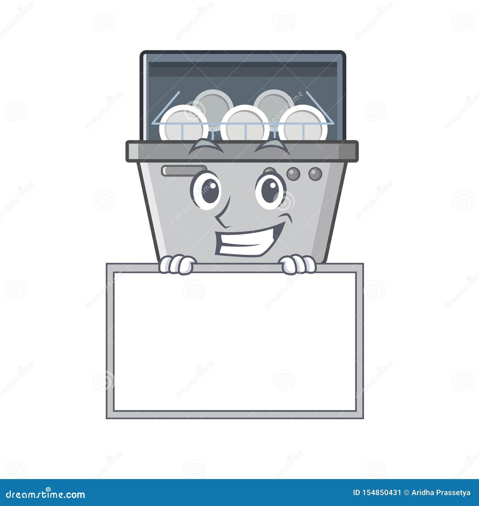 Χαμόγελο με τη μηχανή πλυντηρίων πιάτων μασκότ πινάκων στην κουζίνα