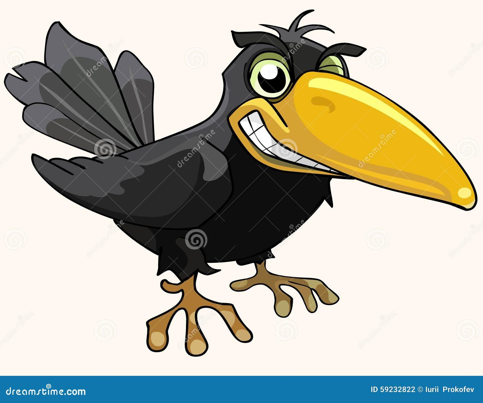 Χαμόγελο κοράκων πουλιών κινούμενων σχεδίων