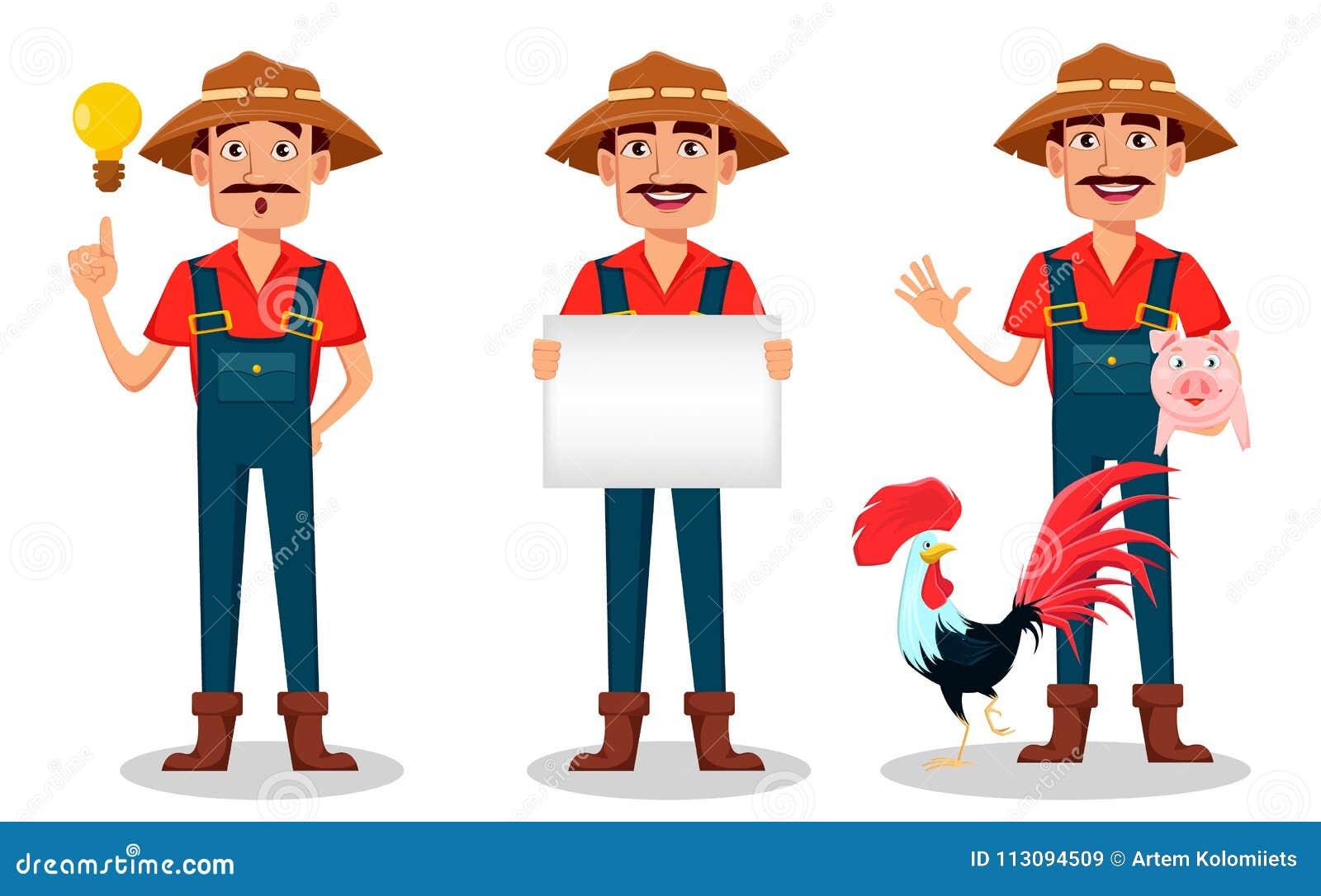 Χαρακτήρας κινουμένων σχεδίων της Farmer - σύνολο Ο εύθυμος κηπουρός κρατά την κενή αφίσσα, έχει μια καλή ιδέα και στέκεται με το