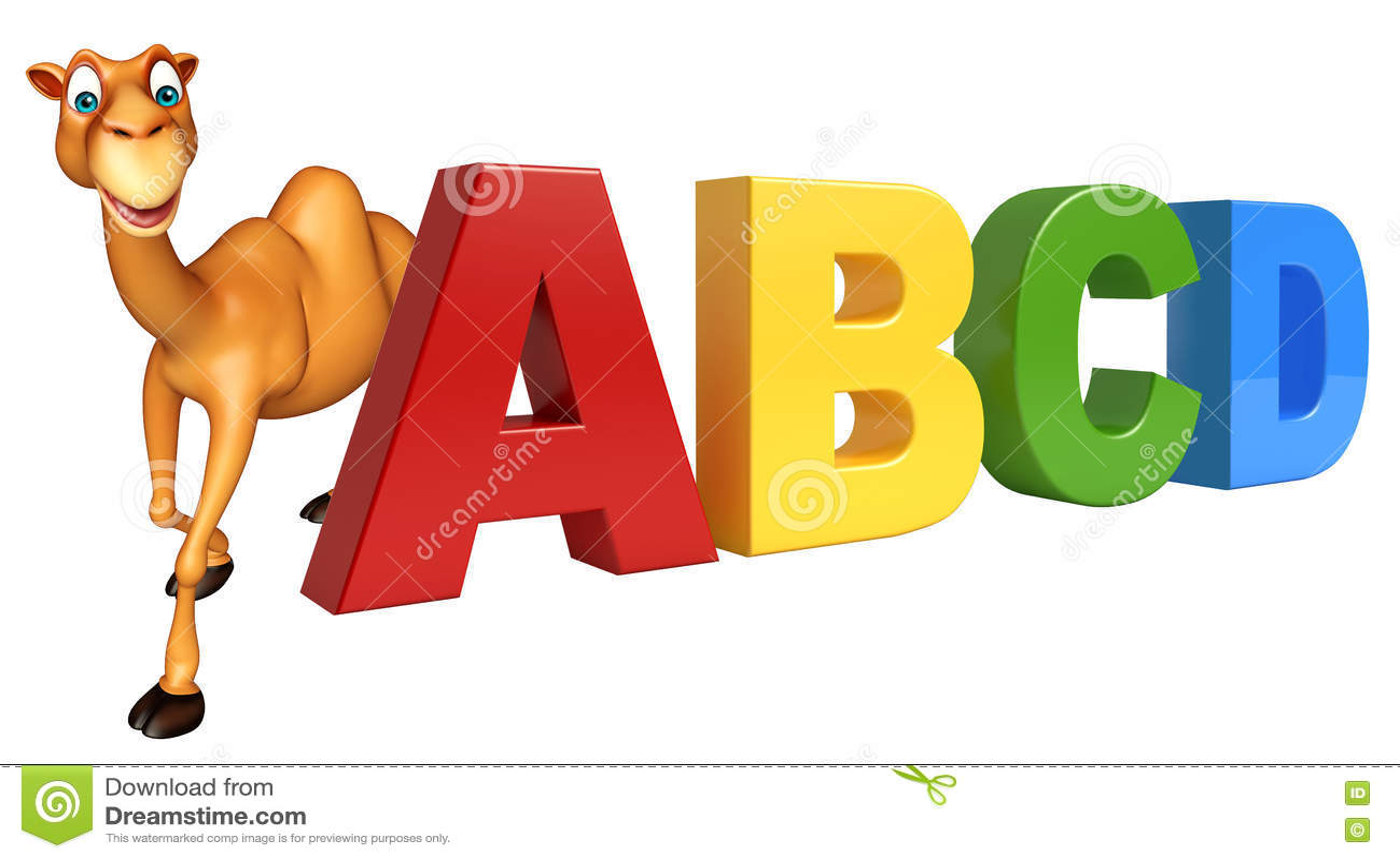 Χαρακτήρας κινουμένων σχεδίων καμηλών διασκέδασης με το σημάδι ABCD