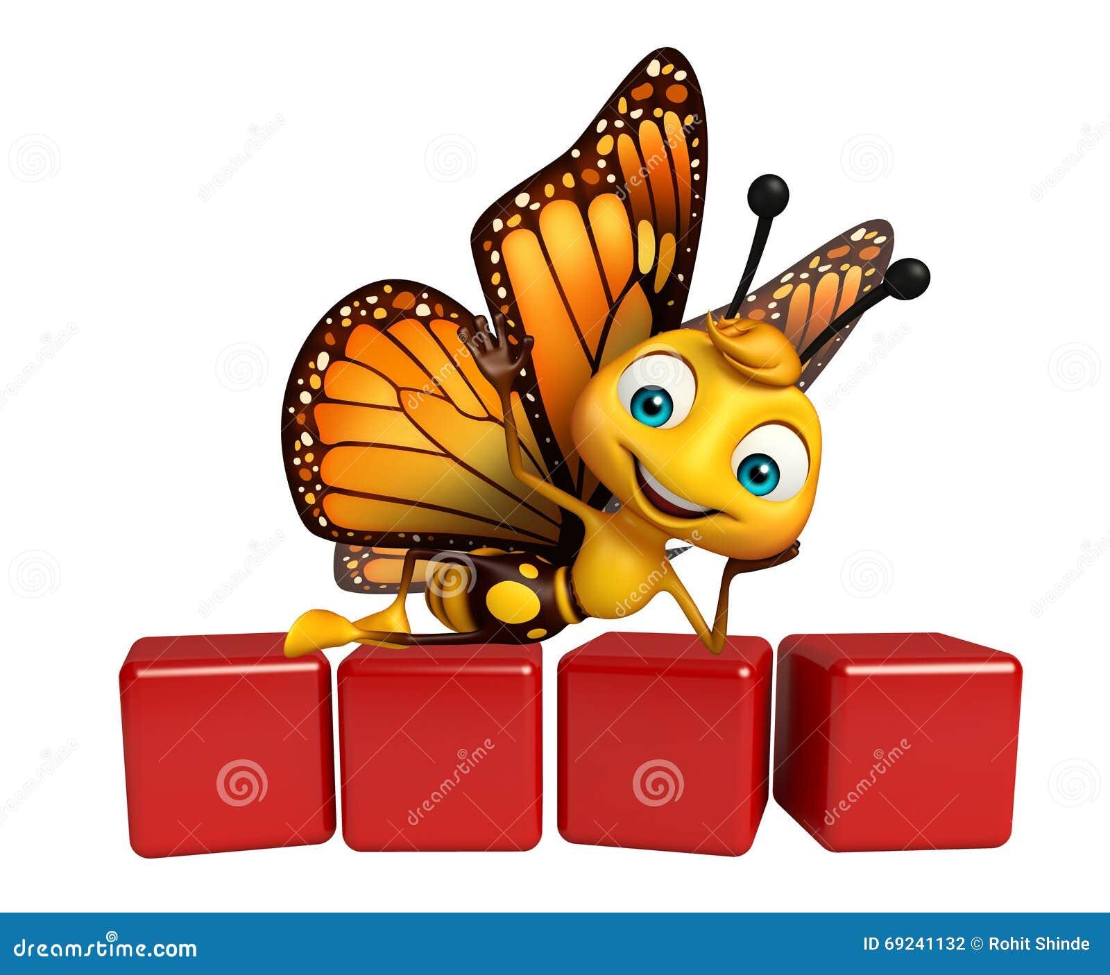χαρακτήρας κινουμένων σχεδίων πεταλούδων διασκέδασης με το επίπεδο