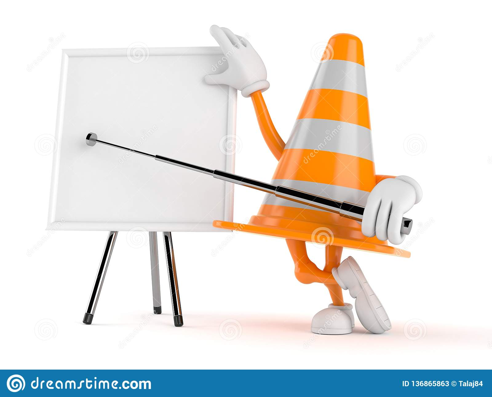 Χαρακτήρας κώνων κυκλοφορίας με το κενό whiteboard