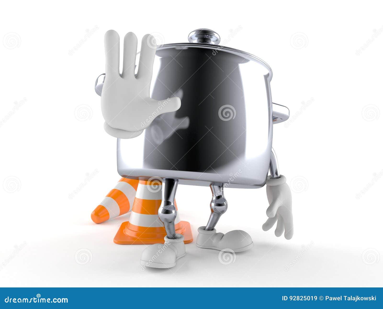 Χαρακτήρας δοχείων κουζινών που κάνει τη χειρονομία στάσεων