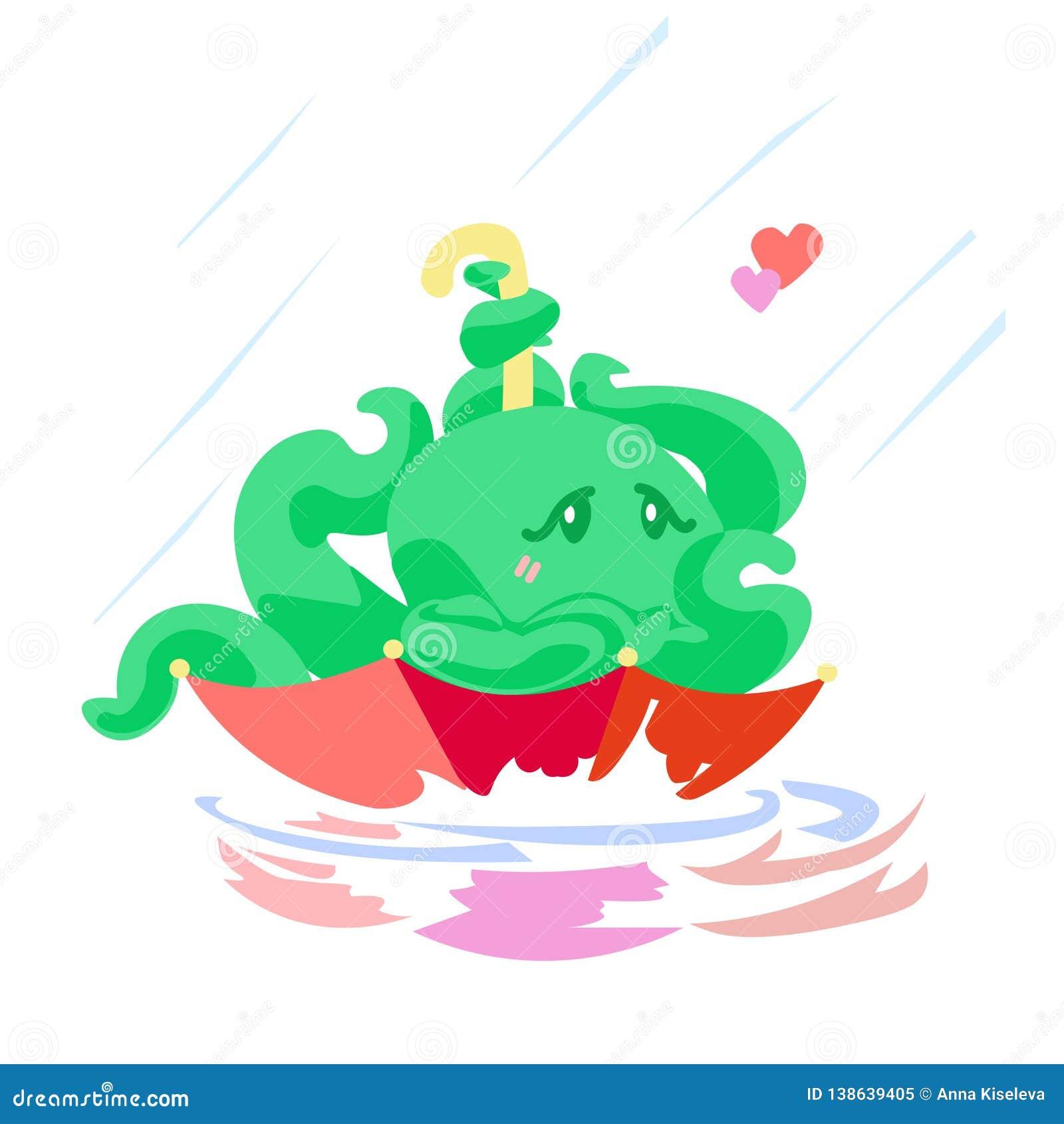 Χαρακτήρας χταποδιών καρτών του χαριτωμένου βαλεντίνου κινούμενων σχεδίων στην ομπρέλα κάτω από τη ζωική απεικόνιση βροχής