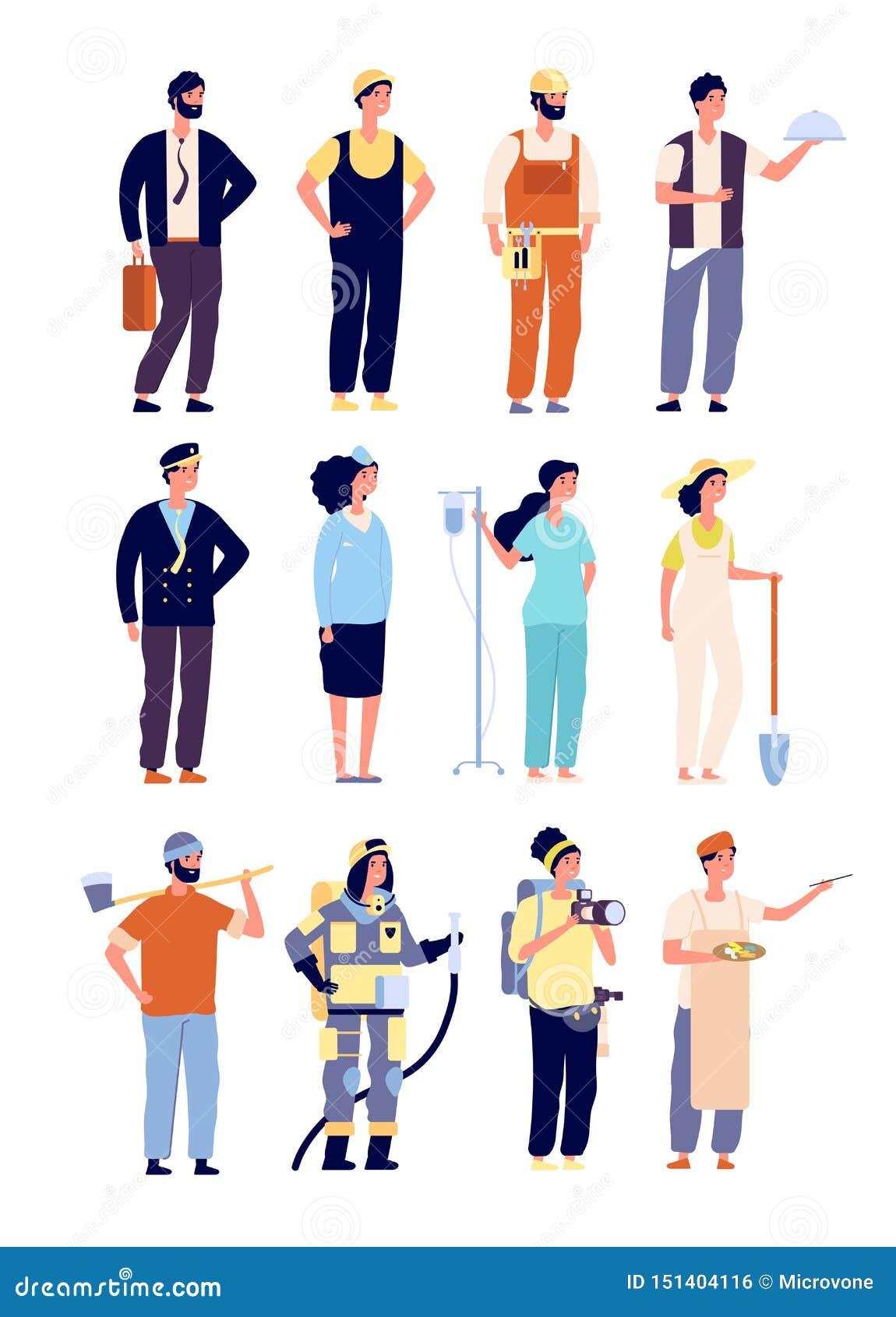 Χαρακτήρες επαγγελματιών αστυνομικός και πυροσβέστης, γιατρός και αεροσυνοδός, καλλιτέχνης και μουσικός, οικοδόμος διάνυσμα Εργατ