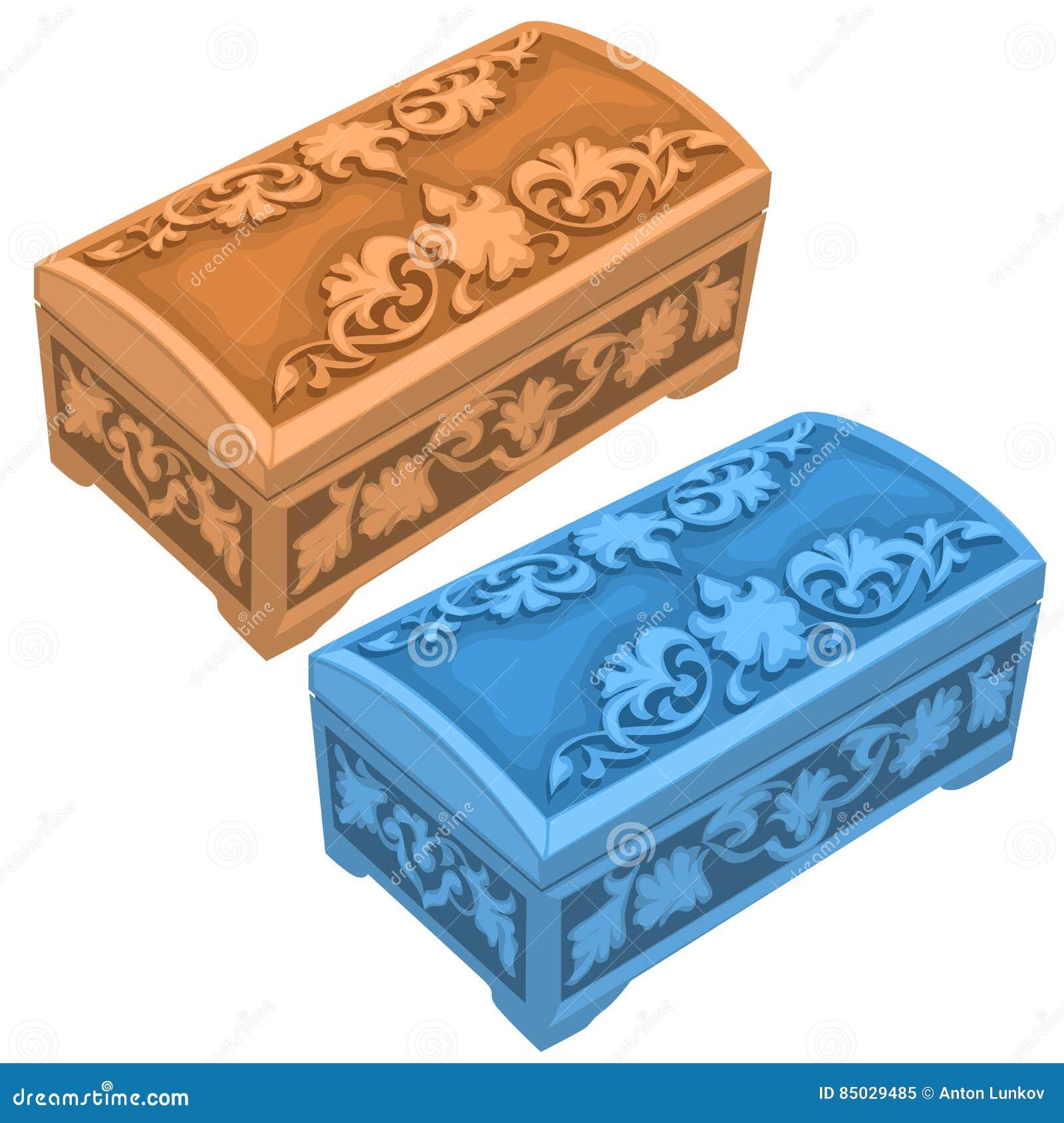 Χαρασμένα μπεζ και μπλε χρώματα κιβωτίων