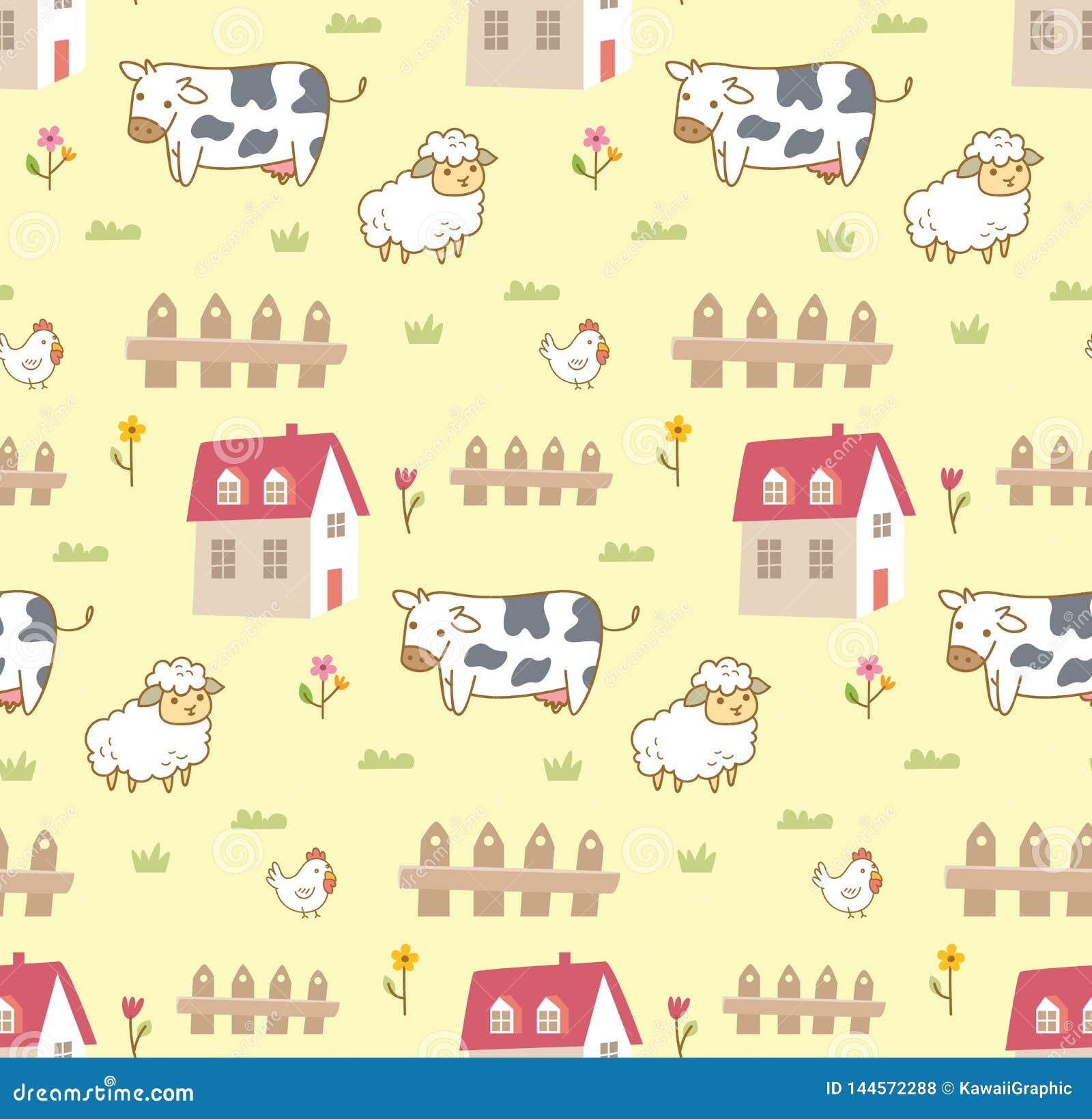 Χαριτωμένα ζώα στο αγροτικό άνευ ραφής υπόβαθρο με την αγελάδα, τα πρό